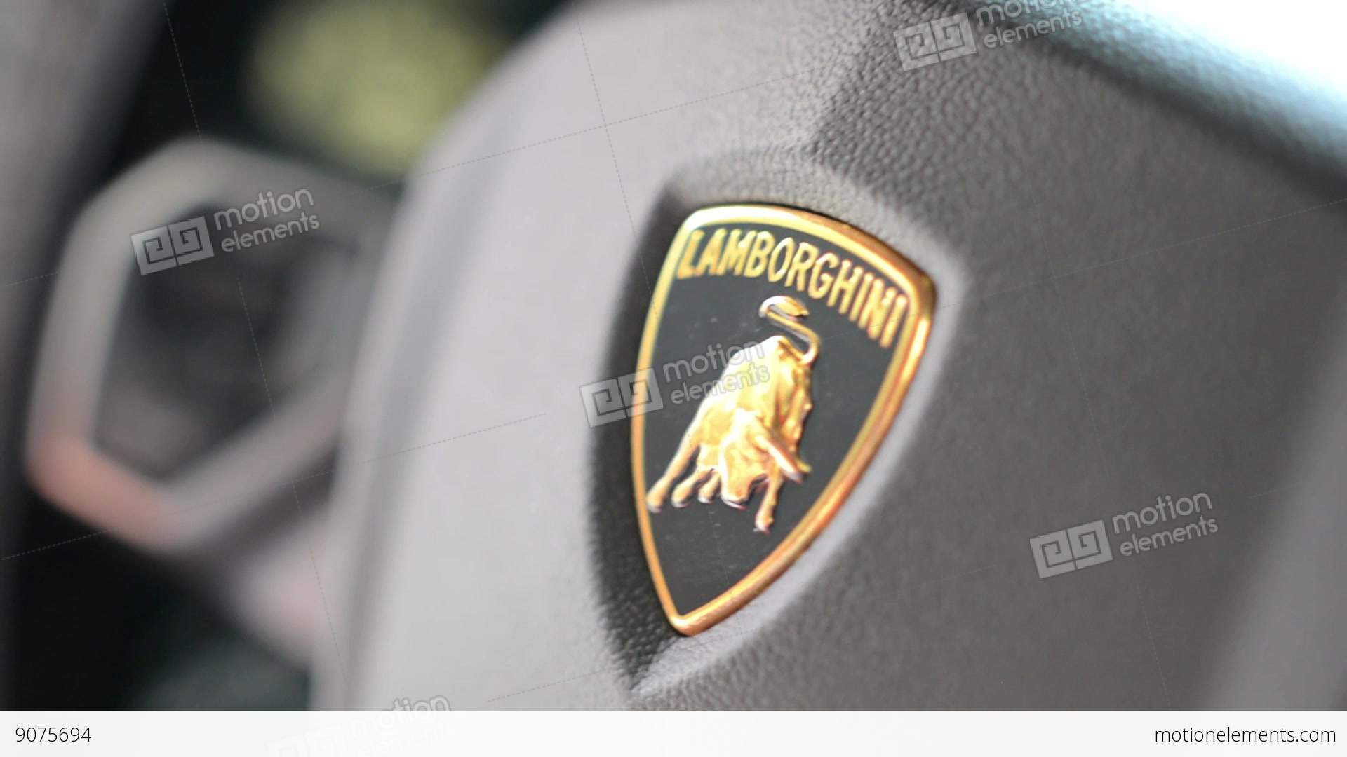 Detail Of Logo Wheel Lamborghini Interior Stock Video Footage
