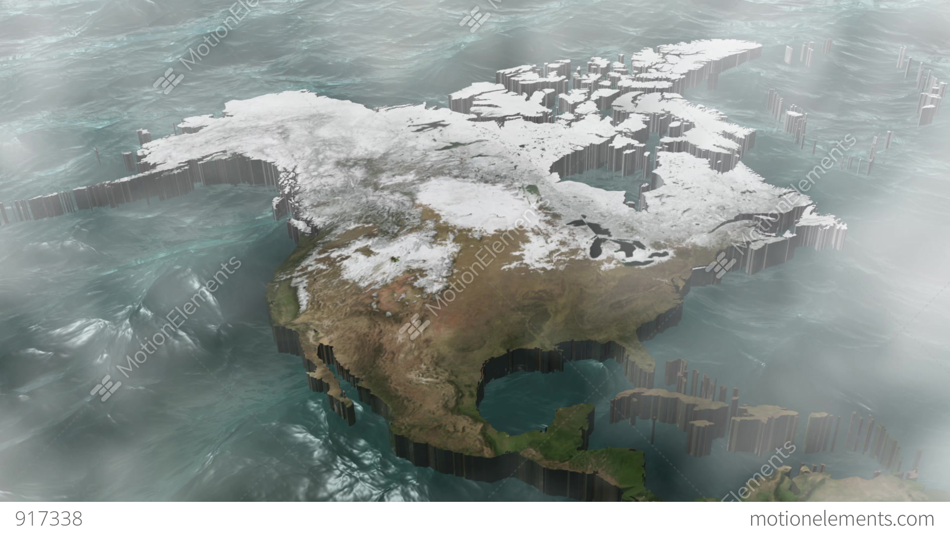 Rotate A Sunny 3D USA And Canada Map With Sea Stock Animation 917338