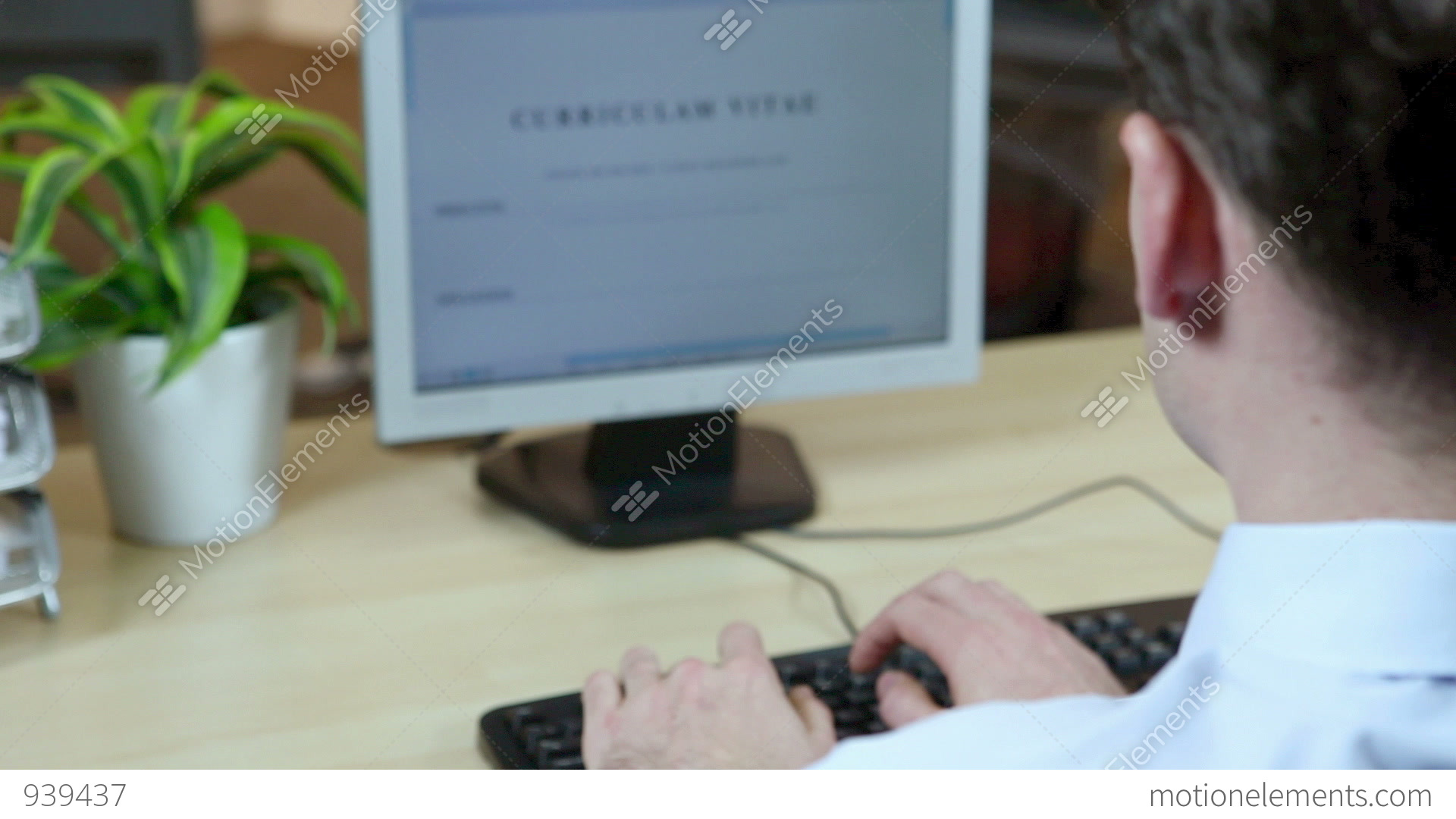 Office Worker Using Computer To Type Resume Stock Video Footage
