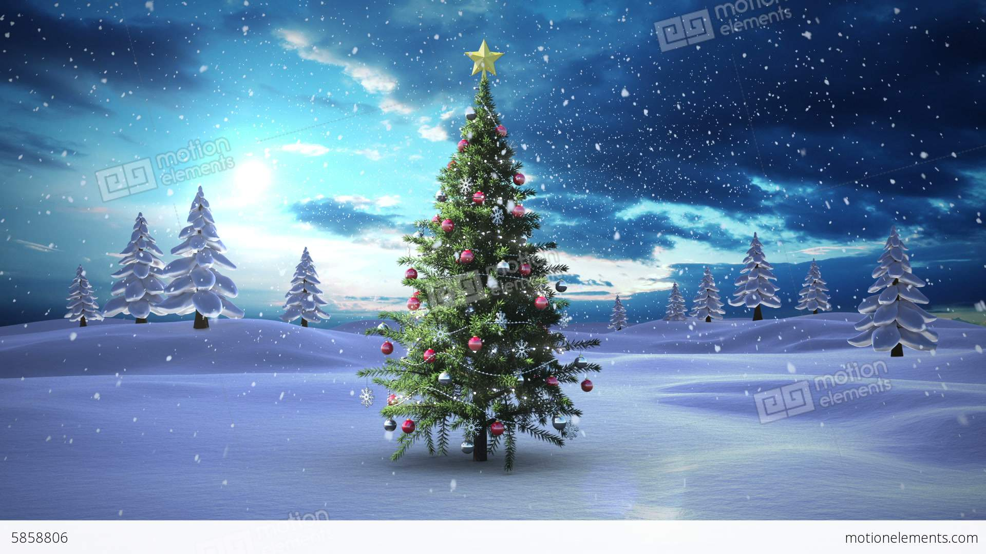 Snow Falling Christmas Tree In Snowy Landscape Stock ...