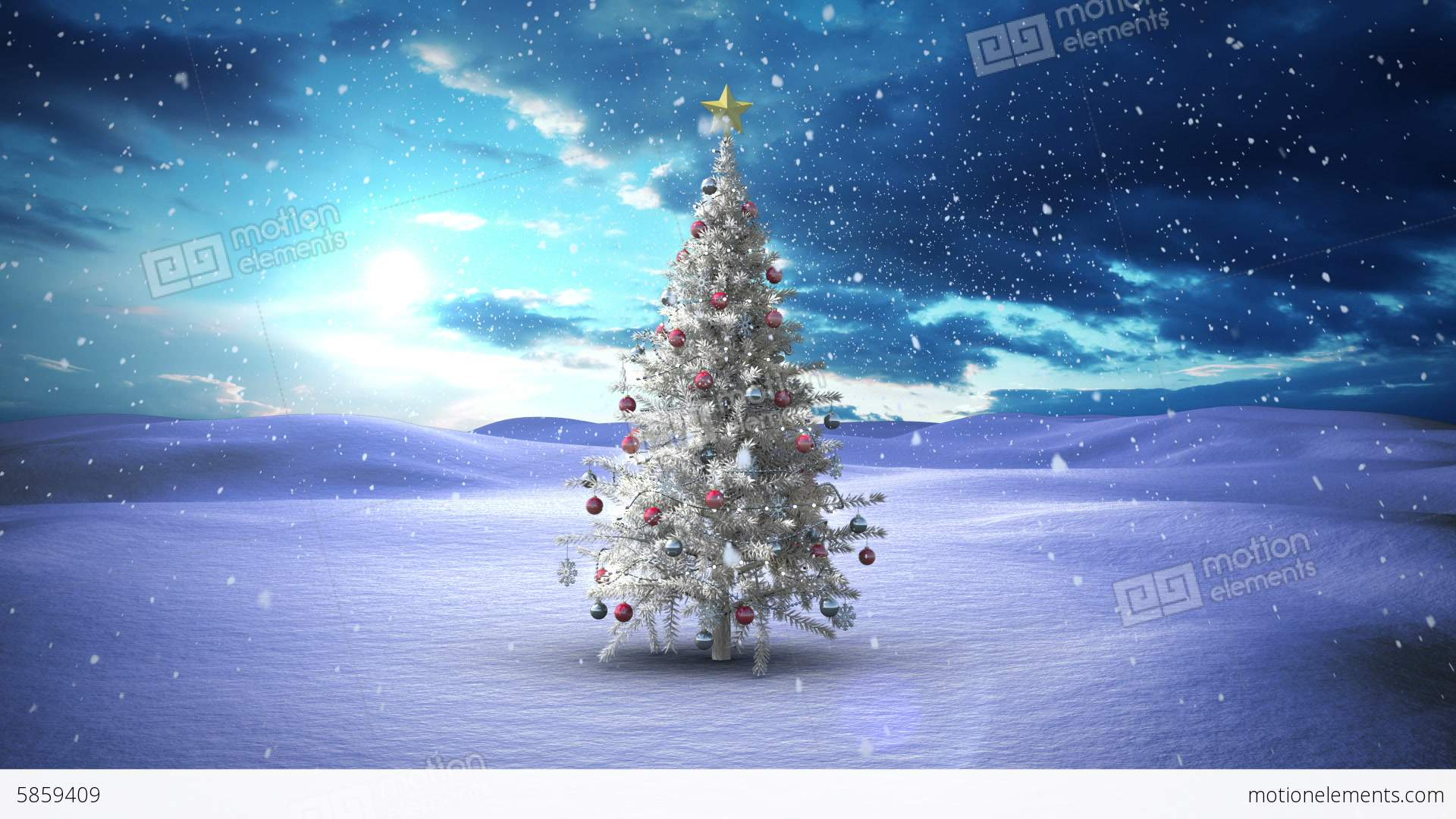 Snow Falling Christmas Tree In Snowy Landscape Stock ...