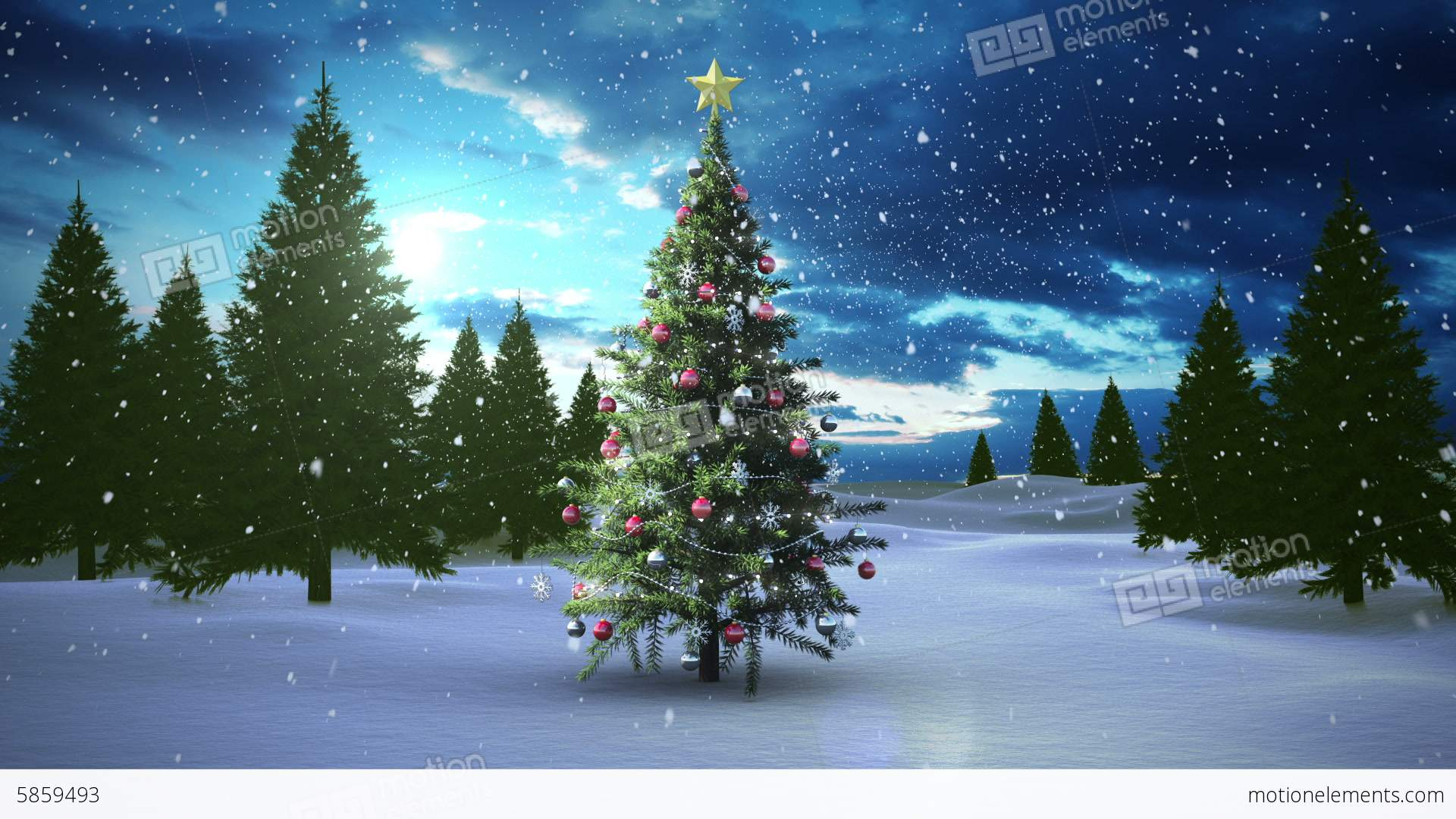 Snow Falling Christmas Tree In Snowy Landscape Stock Animation ...