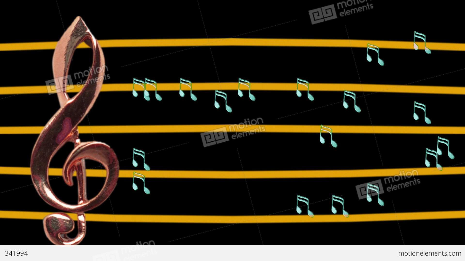 treble clef and musical notes moving - high-tempo