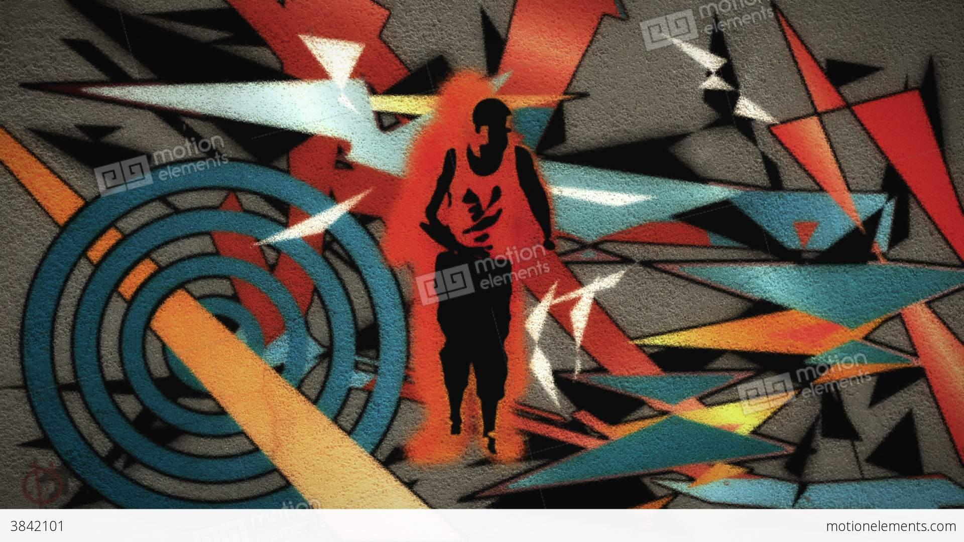 Graffiti Animation A Man Dances With Graffiti Spraying Onto The Wall Stock Animation