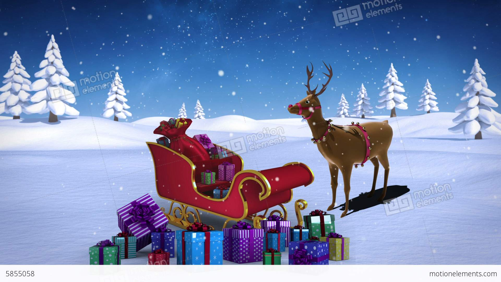 rudolph with santa sled full of gifts in snowy landscape stock video footage - Rudolph And Santa