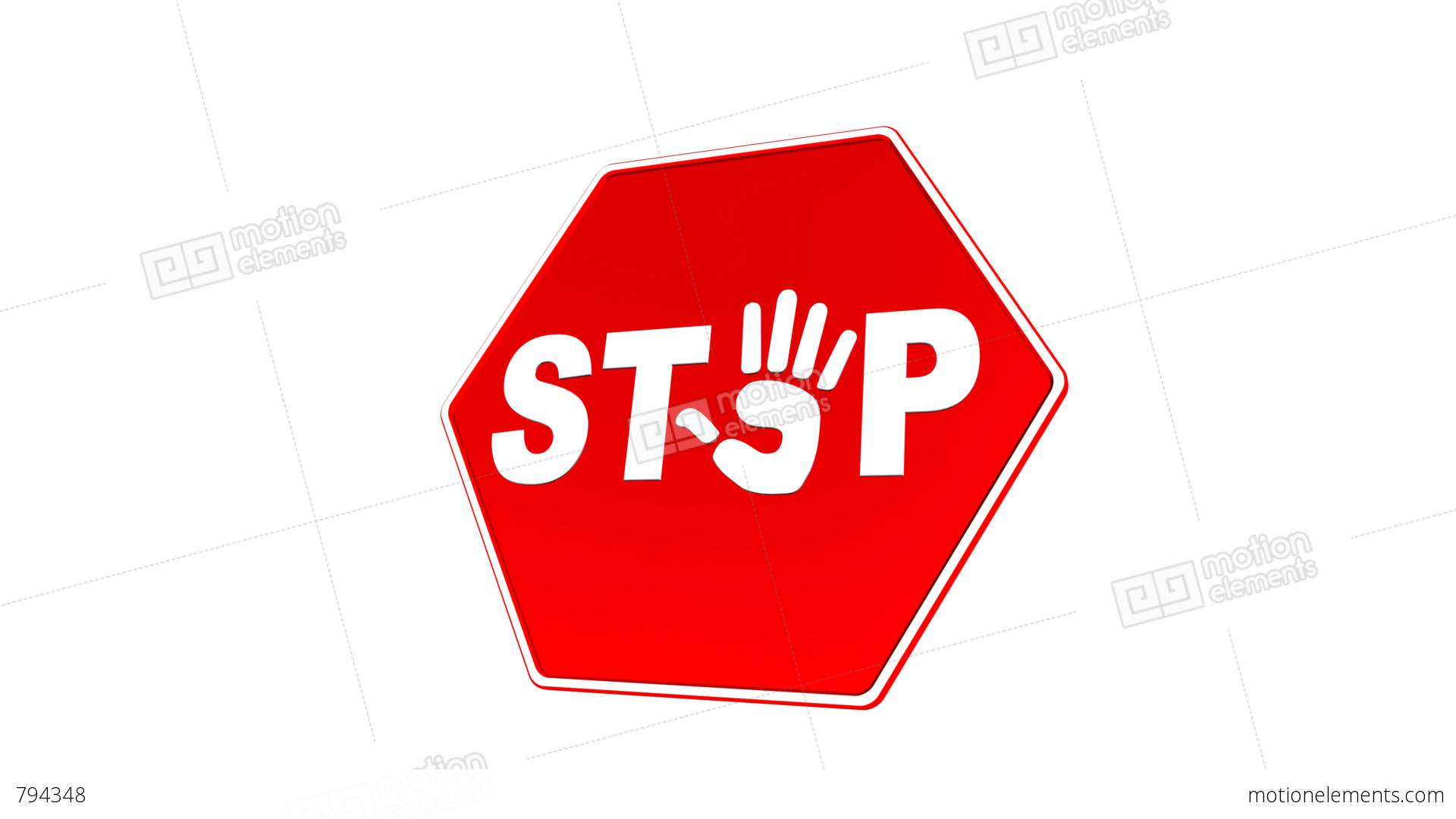 Stop Hand Sign Loop With Matte Stock Animation 794348