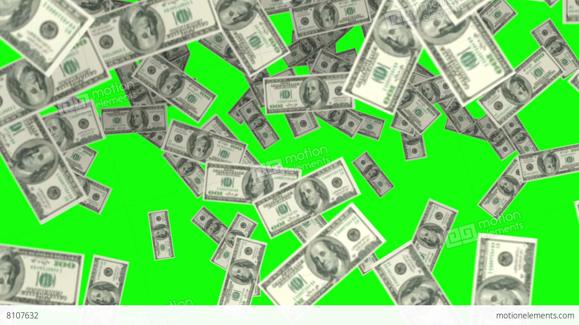 Raining Money On Green Screen Background Stock Animation 8107632