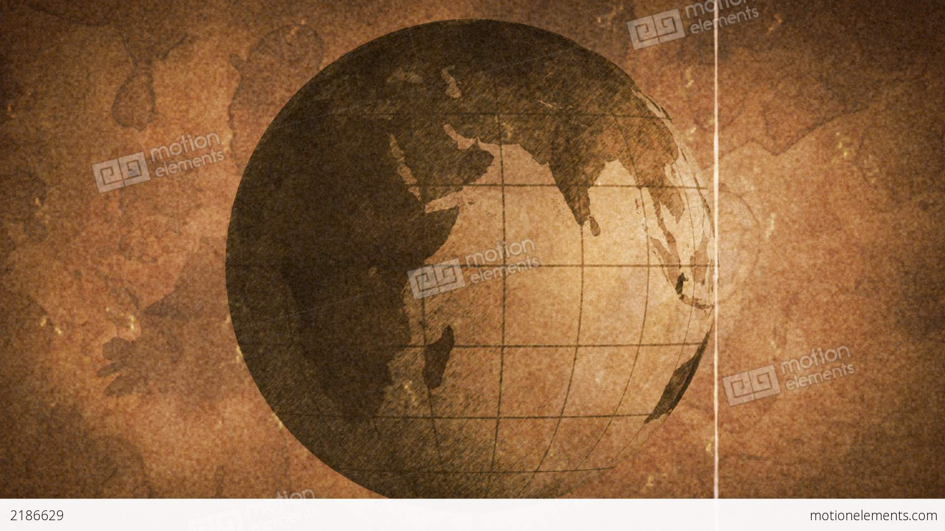 globe sketched on old paper grunge loop background stock animation