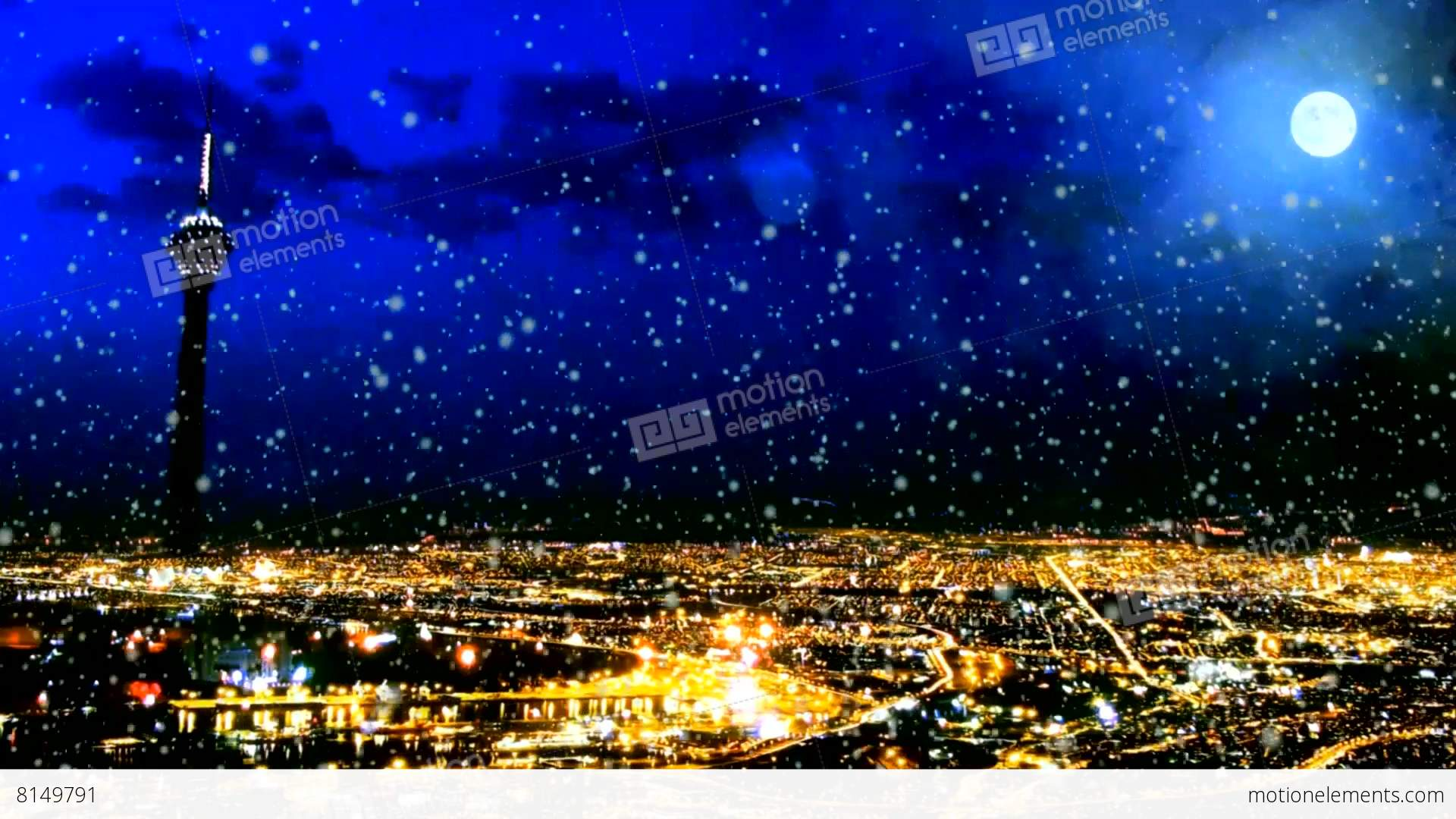 Golden night city in winter stock animation royalty free for Golden night