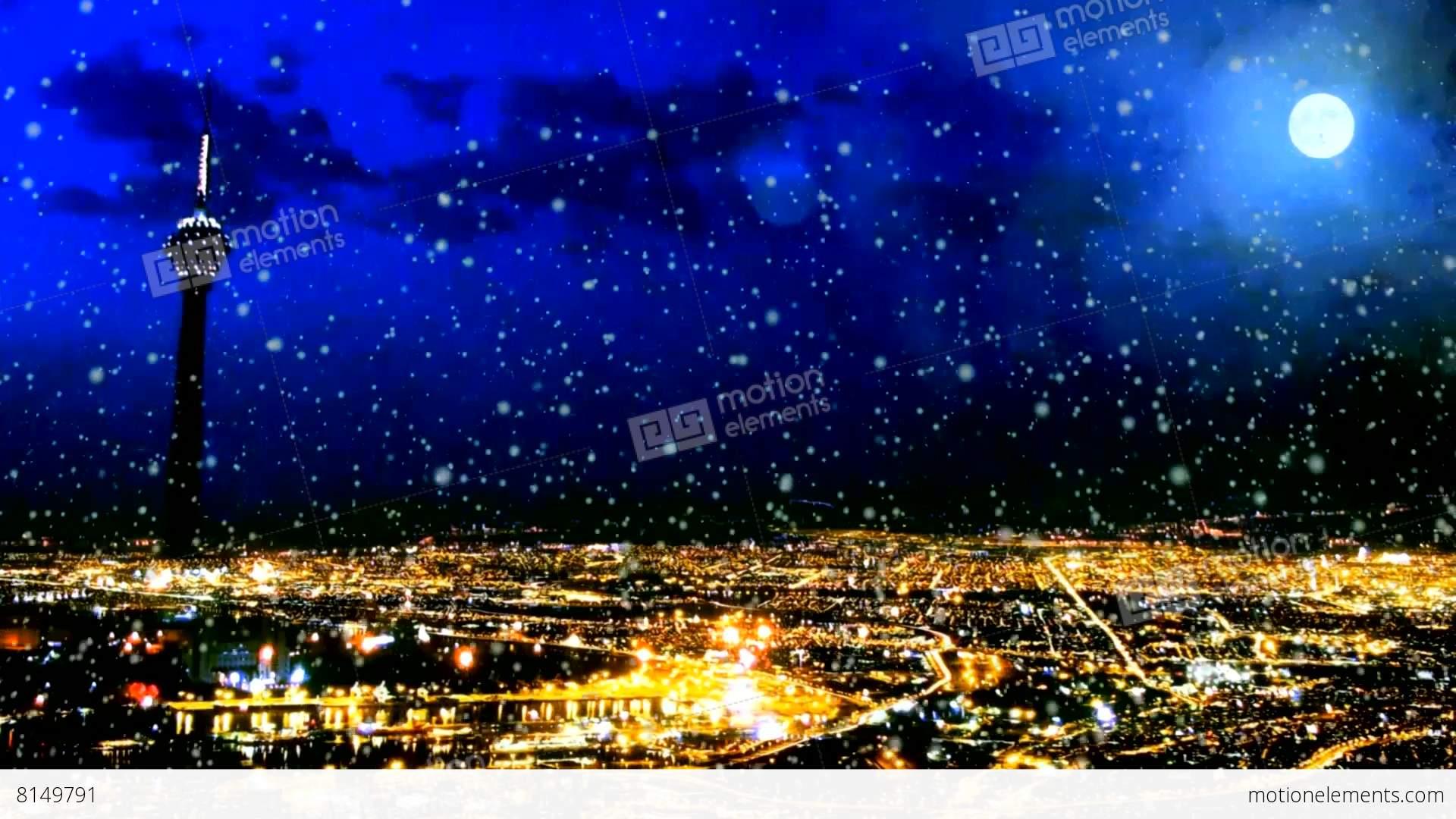 Golden night city in winter stock animation 8149791 for Golden night