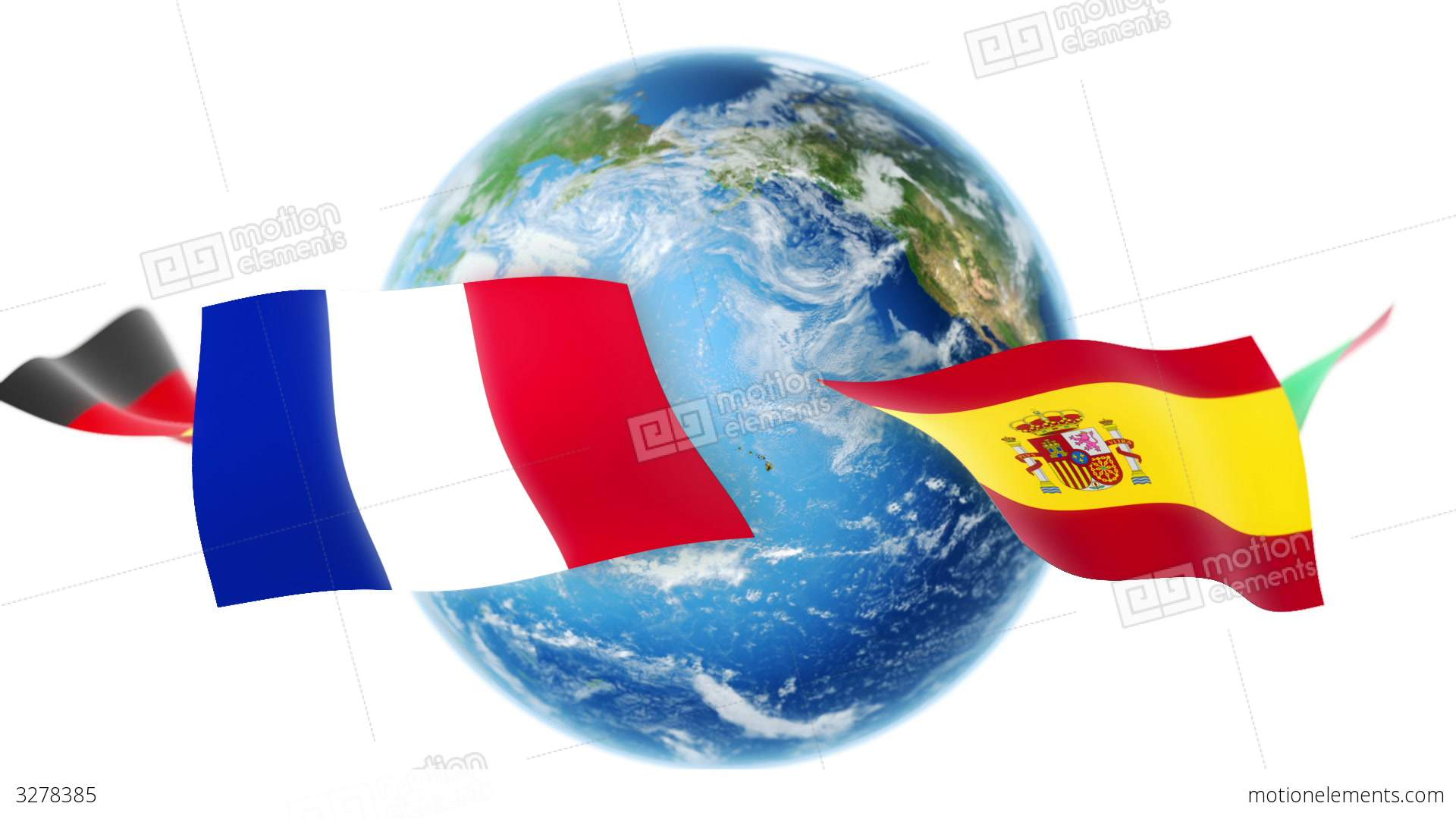 Learning Languages Flags Around Earth Loop Stock Animation - Languages on earth