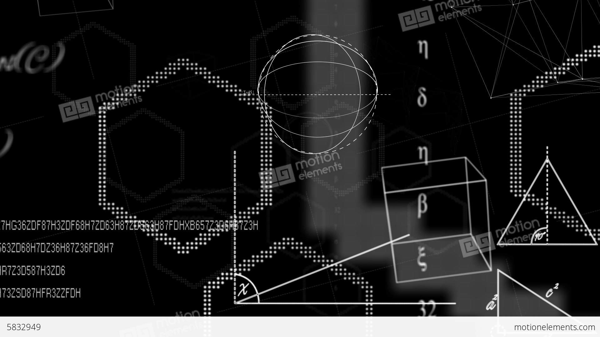 Math Equations And Shapes On Black Background Stock Video Footage