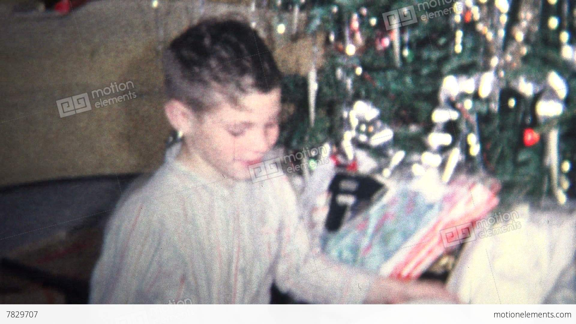8mm Vintage) 1964 Kids Playing Christmas Morning Presents Stock ...