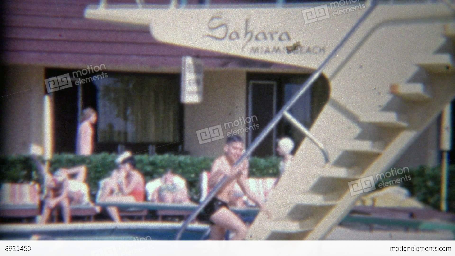 1956 High Hotel Diving Board At The Sahara Miami Beach Stock Video