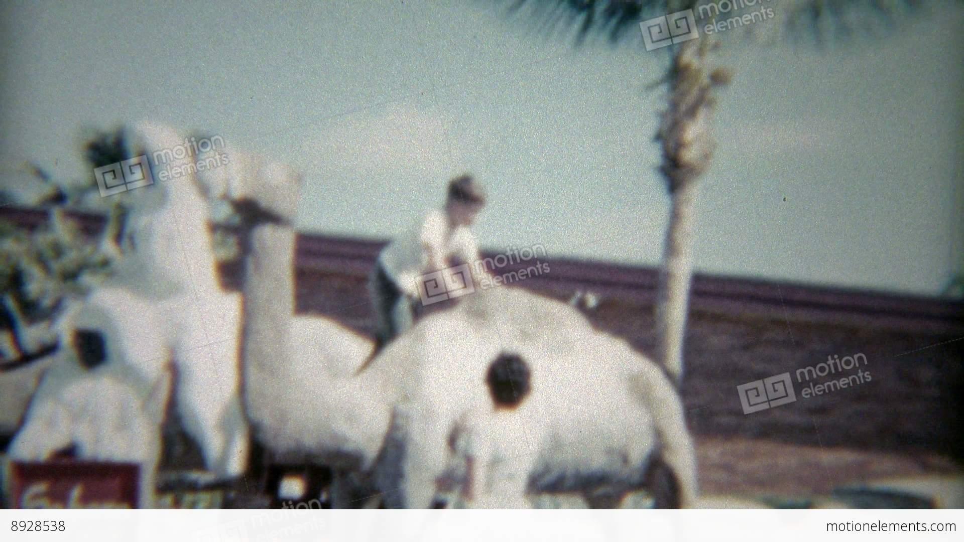 1959 Kid Riding The Camel At Sahara Miami Beach Hotel Stock Video Footage
