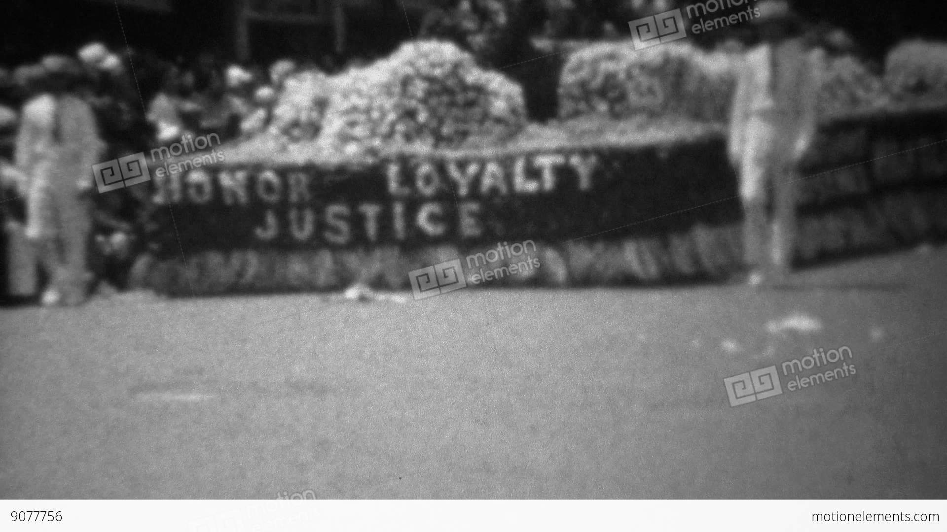 1945 honor loyalty justice ww2 victory flower covered parade float