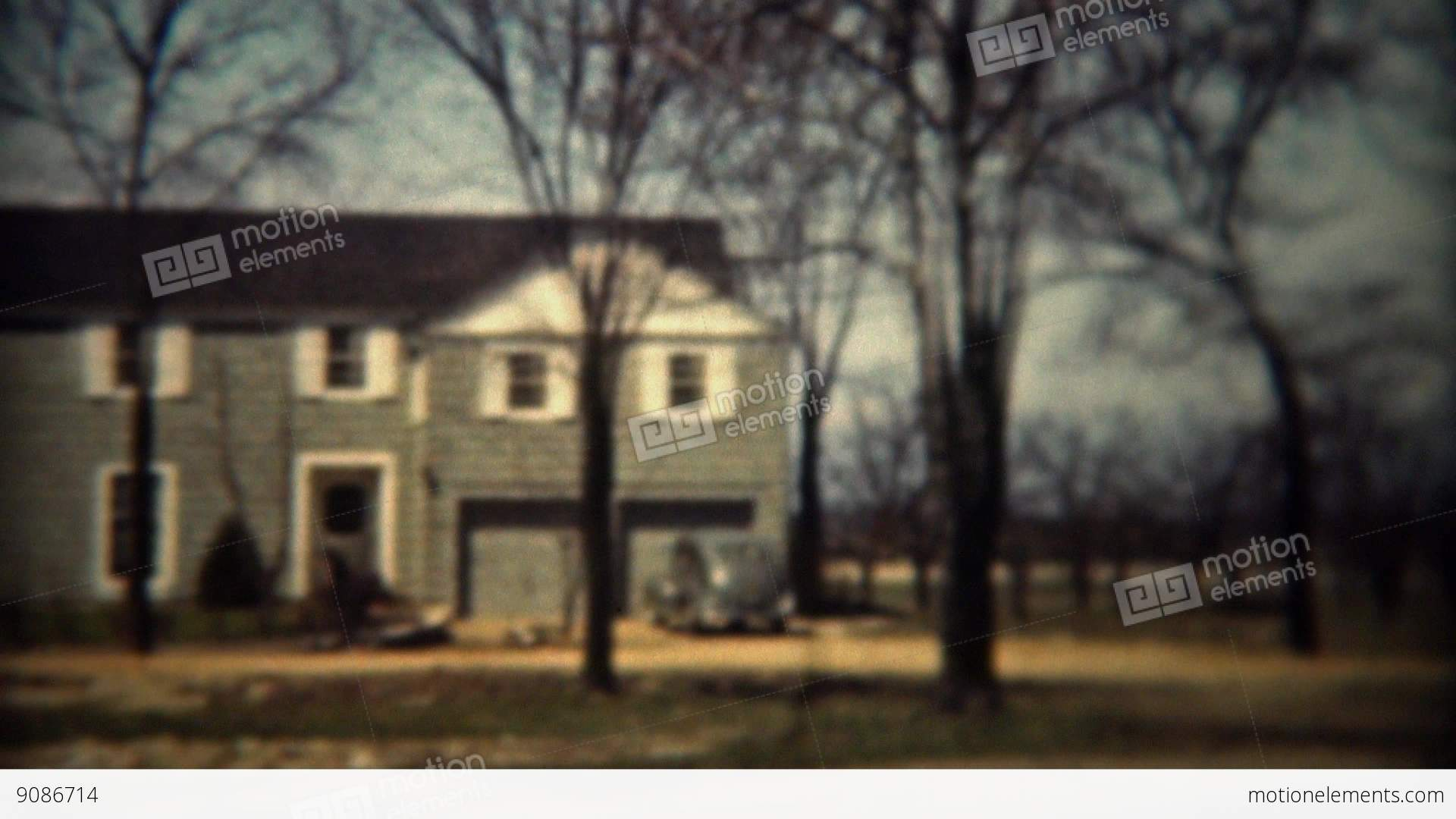 1937 colonial style architecture modern house in wooded stock video footage