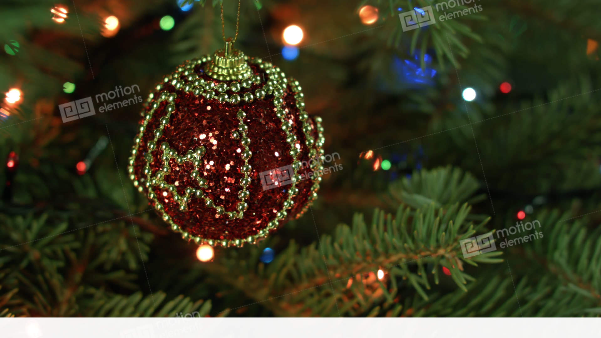 magically decorated christmas tree with balls ribbons stock video footage
