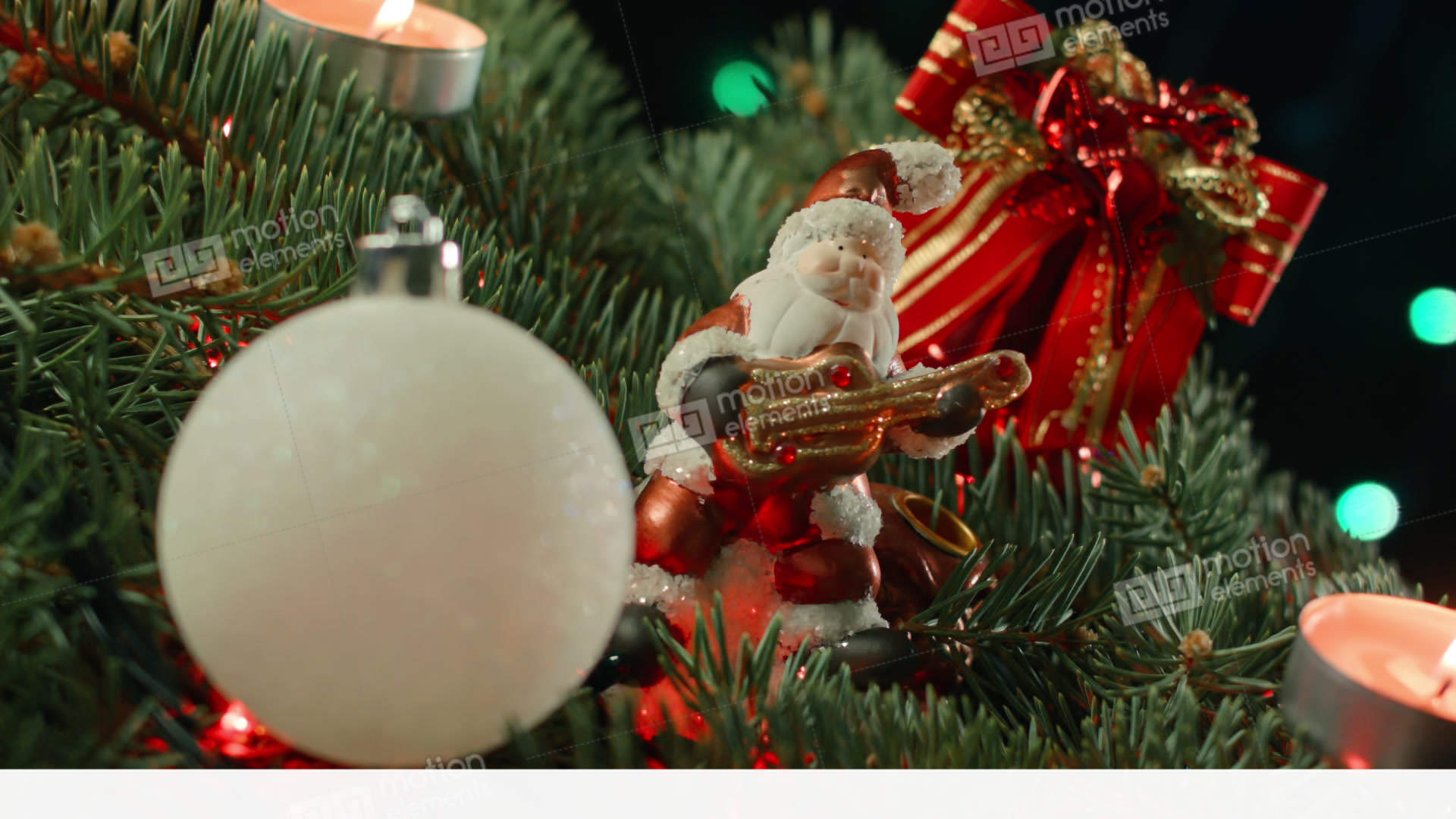 christmas decoration with santa baubles and fairy lights stock video footage - Christmas Decoration Video