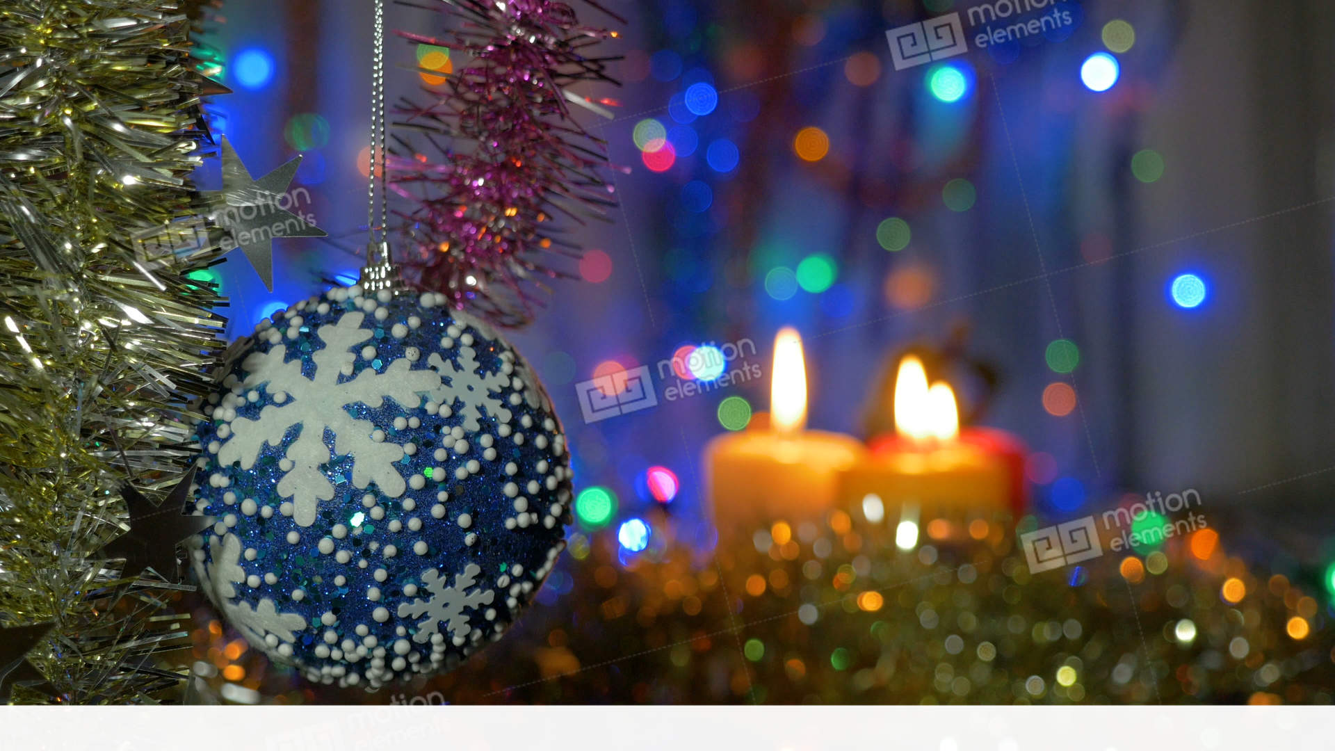 A Large Blue Ball Hangs On The Christmas Tree Blurred Background