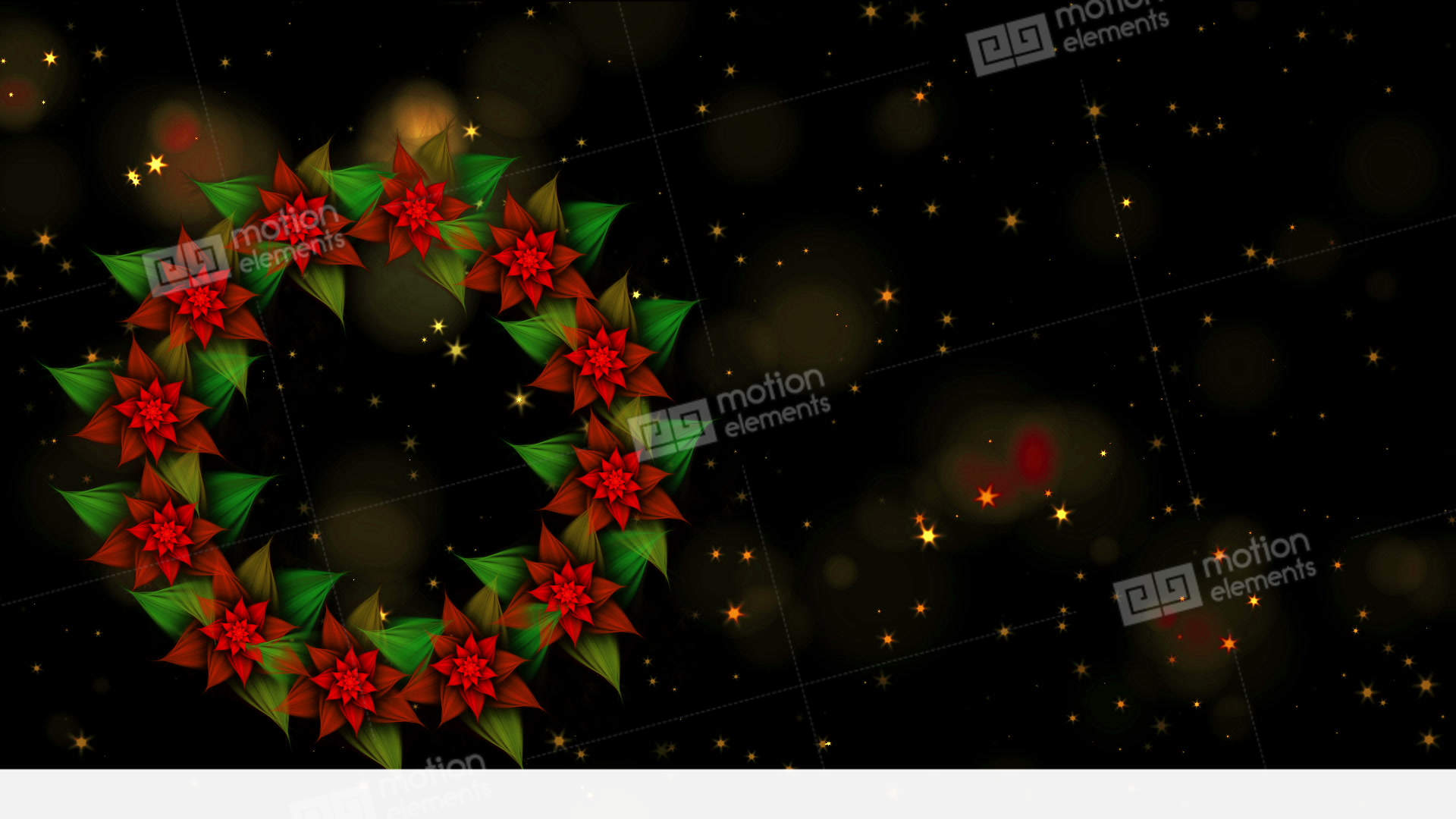 starry christmas wreath from red poinsettia with stock video footage - Starry Christmas