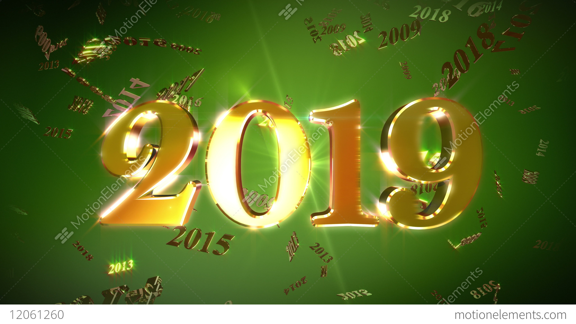 new year 2019 animation loopable background stock video footage