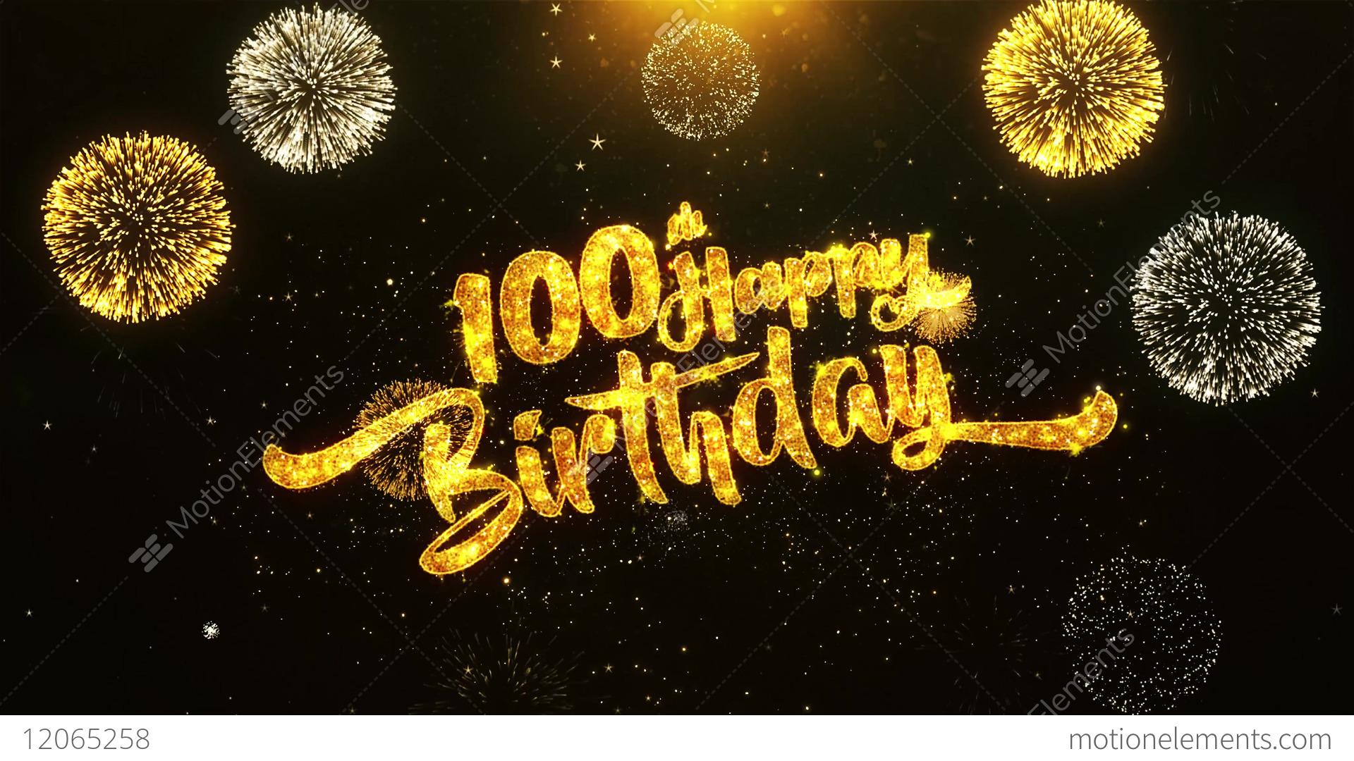 100th Happy Birthday Text Greeting Wishes Celebration Invitation