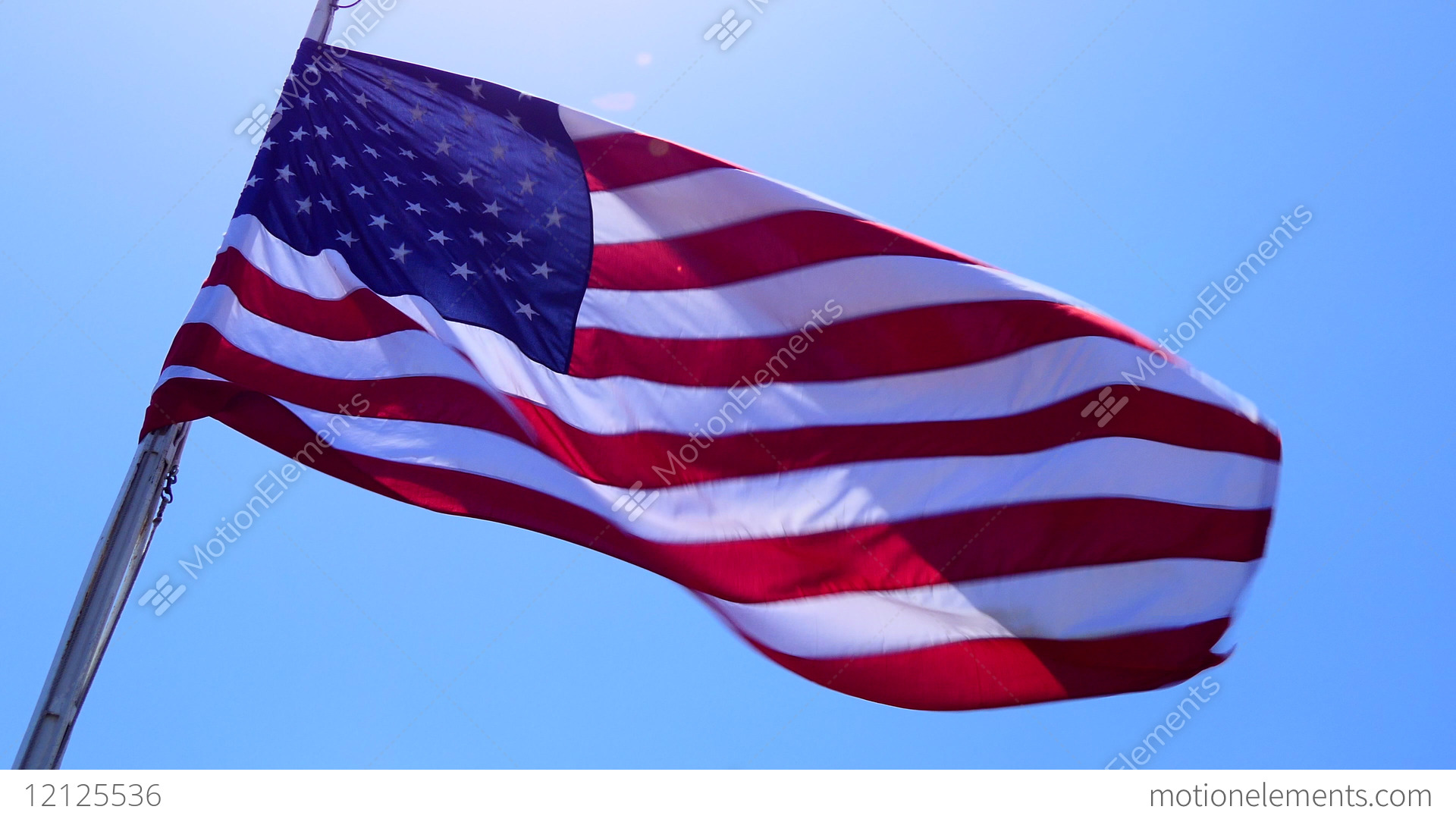 American Flag With Stars And Stripes Waving In The Sky Stock Video
