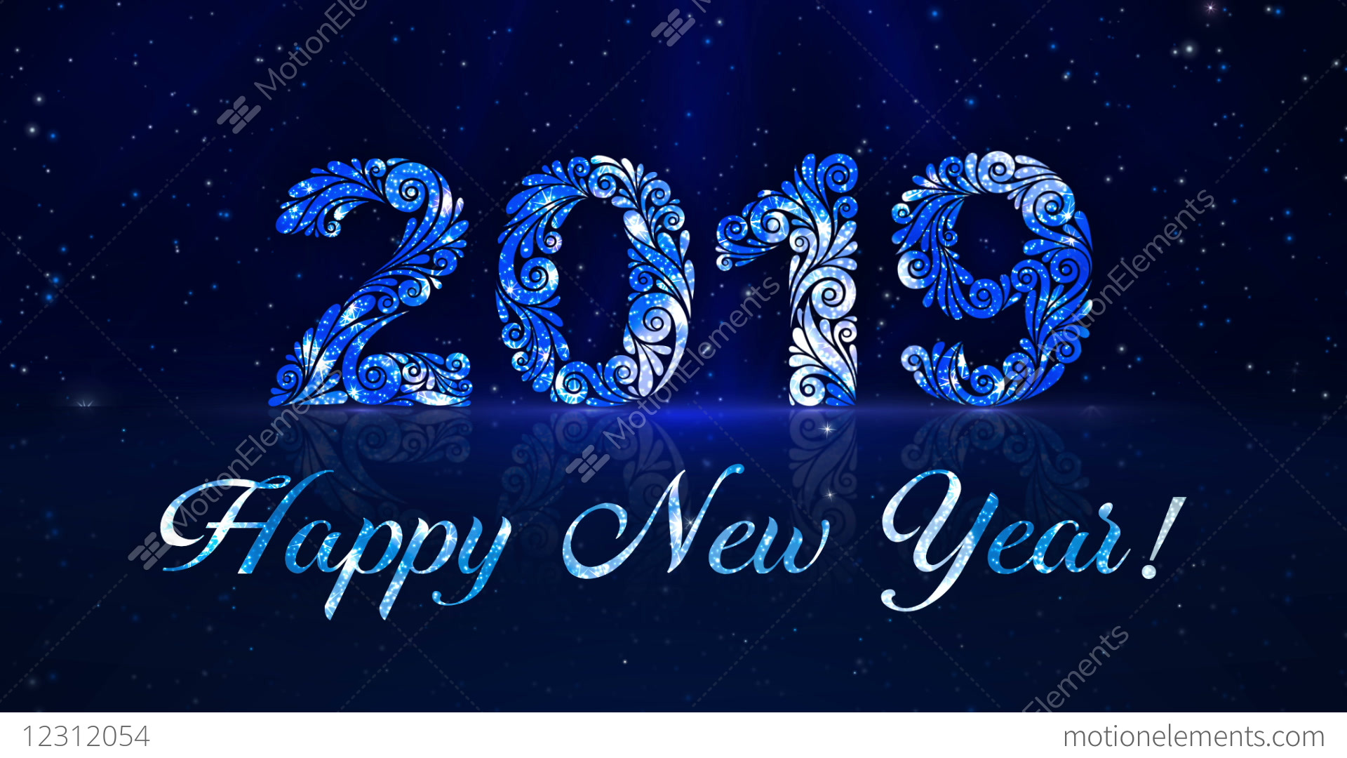 Greeting Happy New Year 2019 Stock Animation 12312054