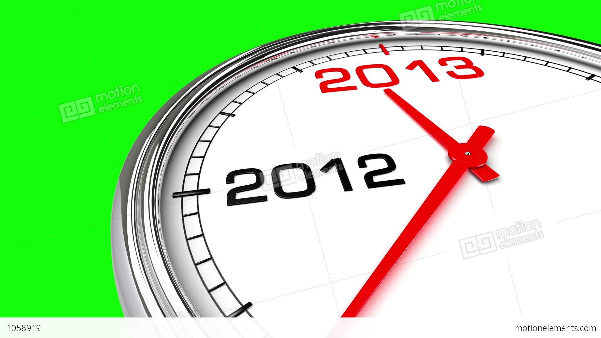 New Year 2013 Clock (Green Screen) Stock Animation | 1058919
