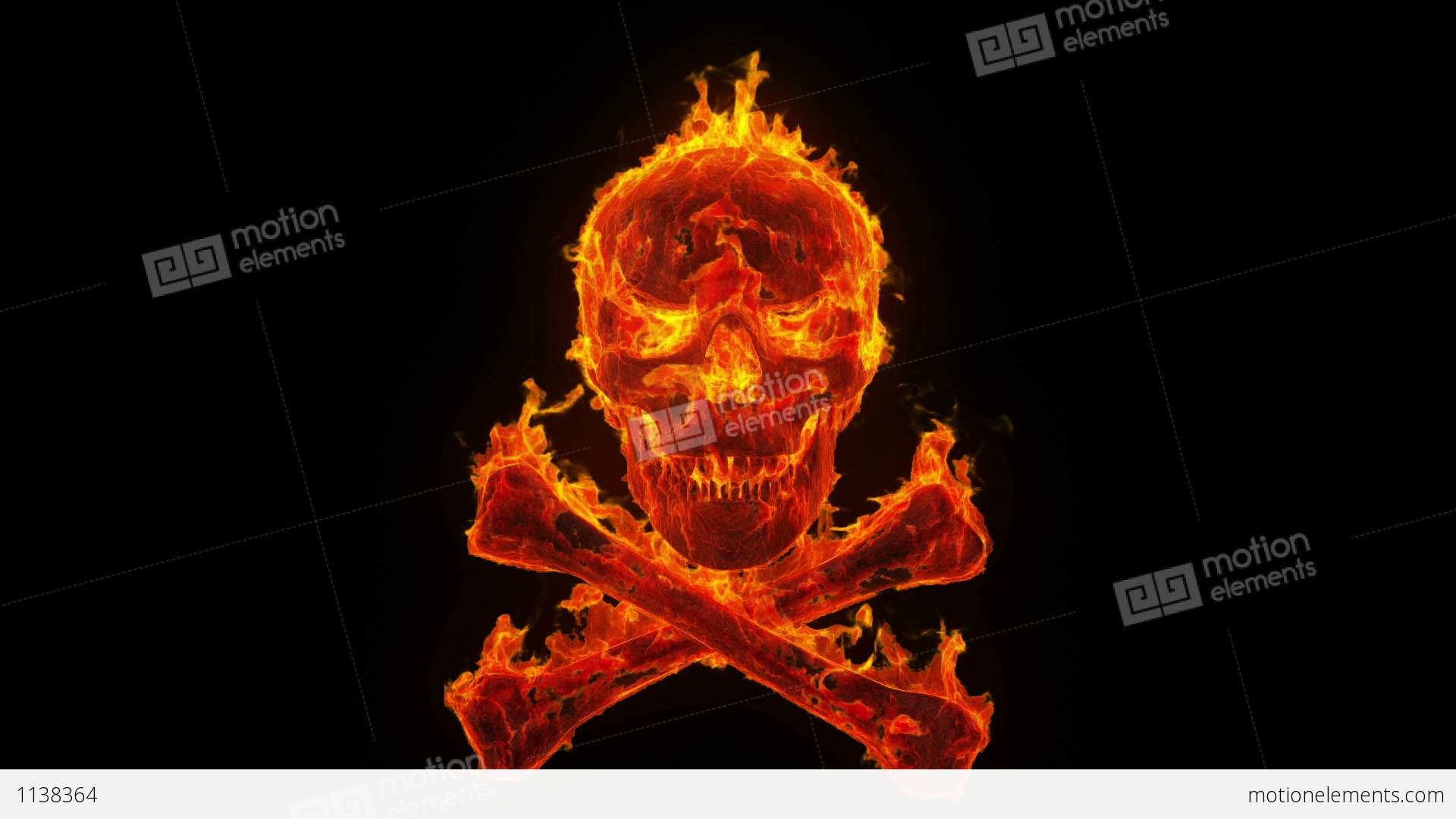 Burning Skull And Crossbones Stock Animation | 1138364