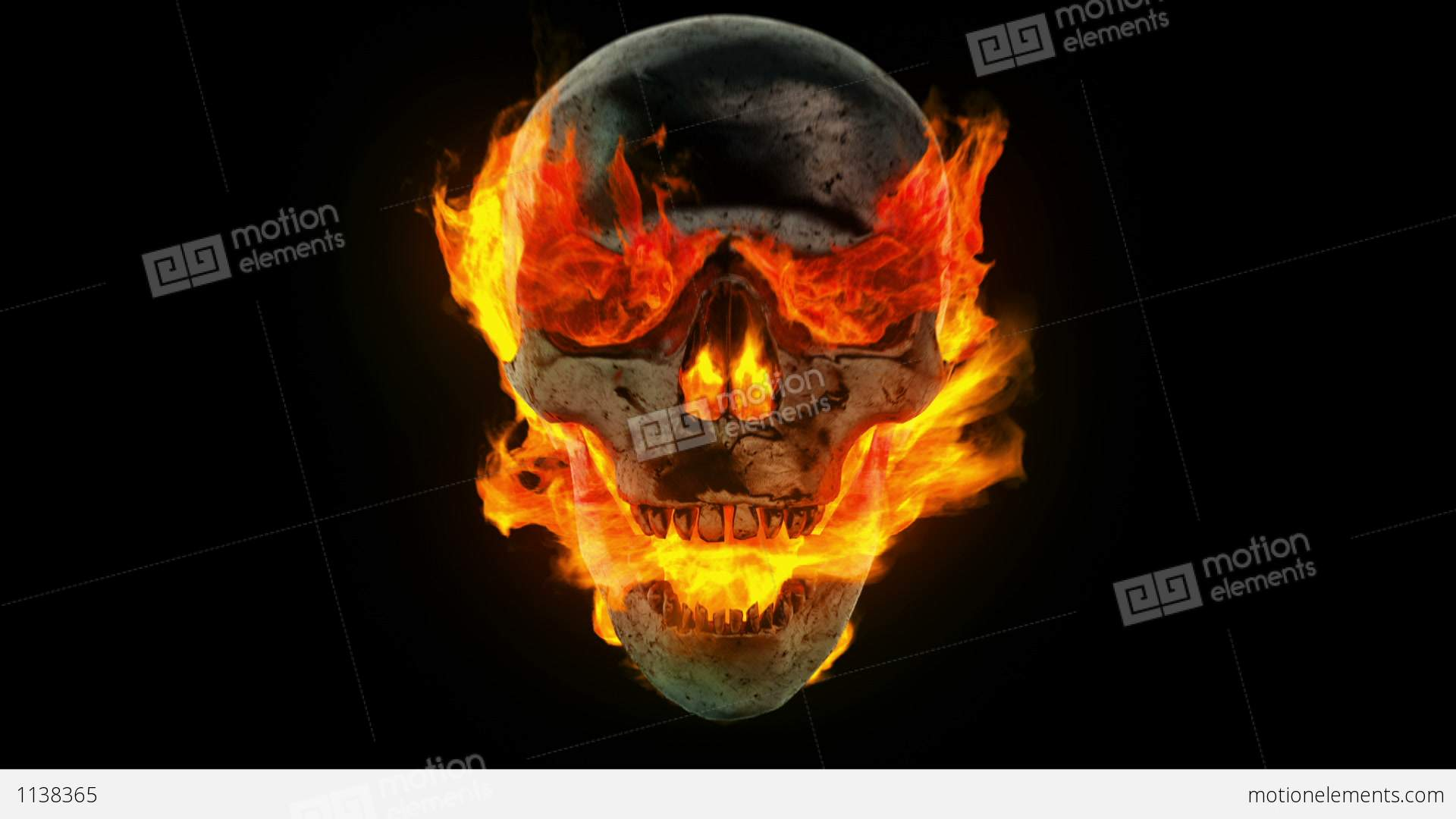 Burning Metal Skull Stock Animation | 1138365