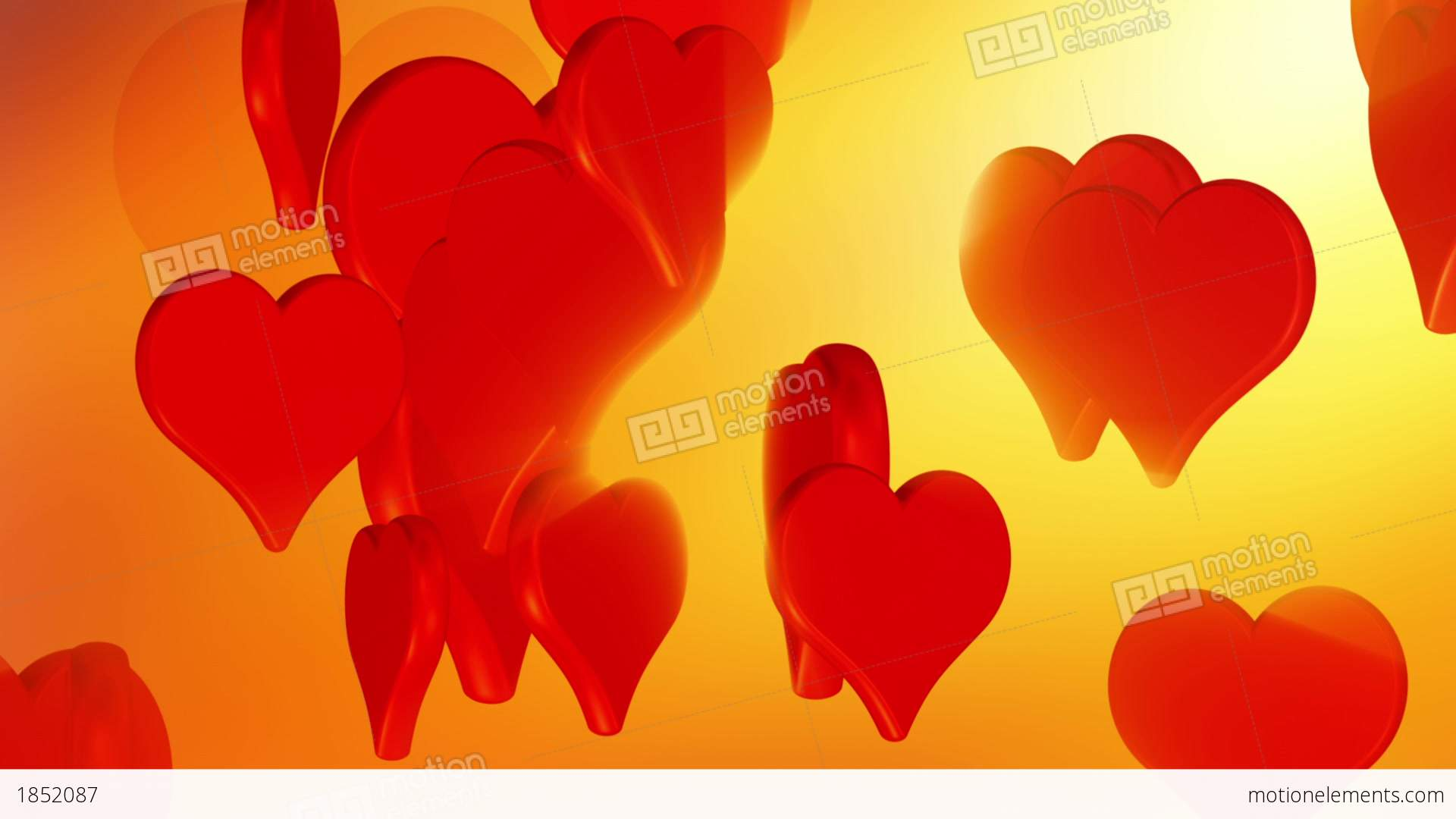 Flying Red Love Hearts Wedding Background Animation Stock Video Footage