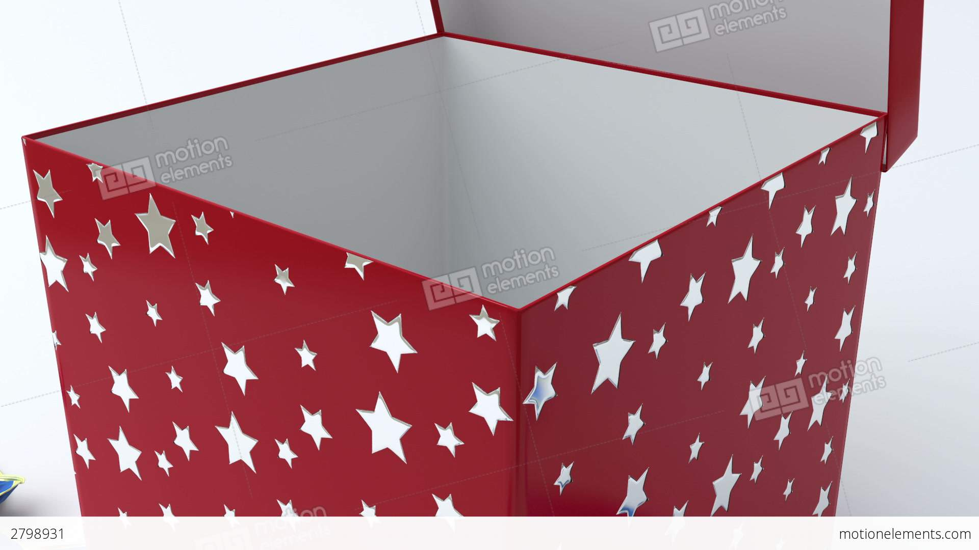 Red silver star gift box with blue ribbon openin cg red silver star gift box with blue ribbon openin negle Choice Image