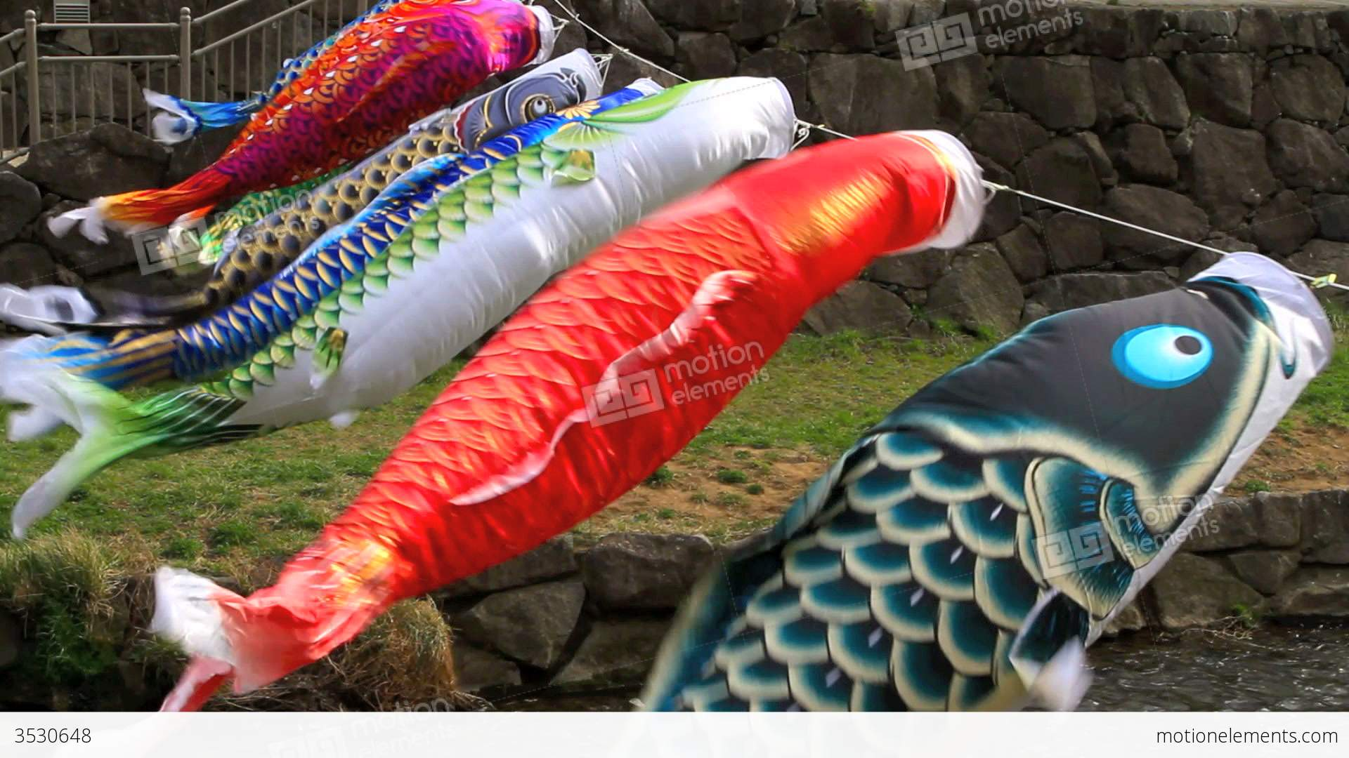 Carp kite flying koinobori stock video footage 3530648 for Koi fish kite