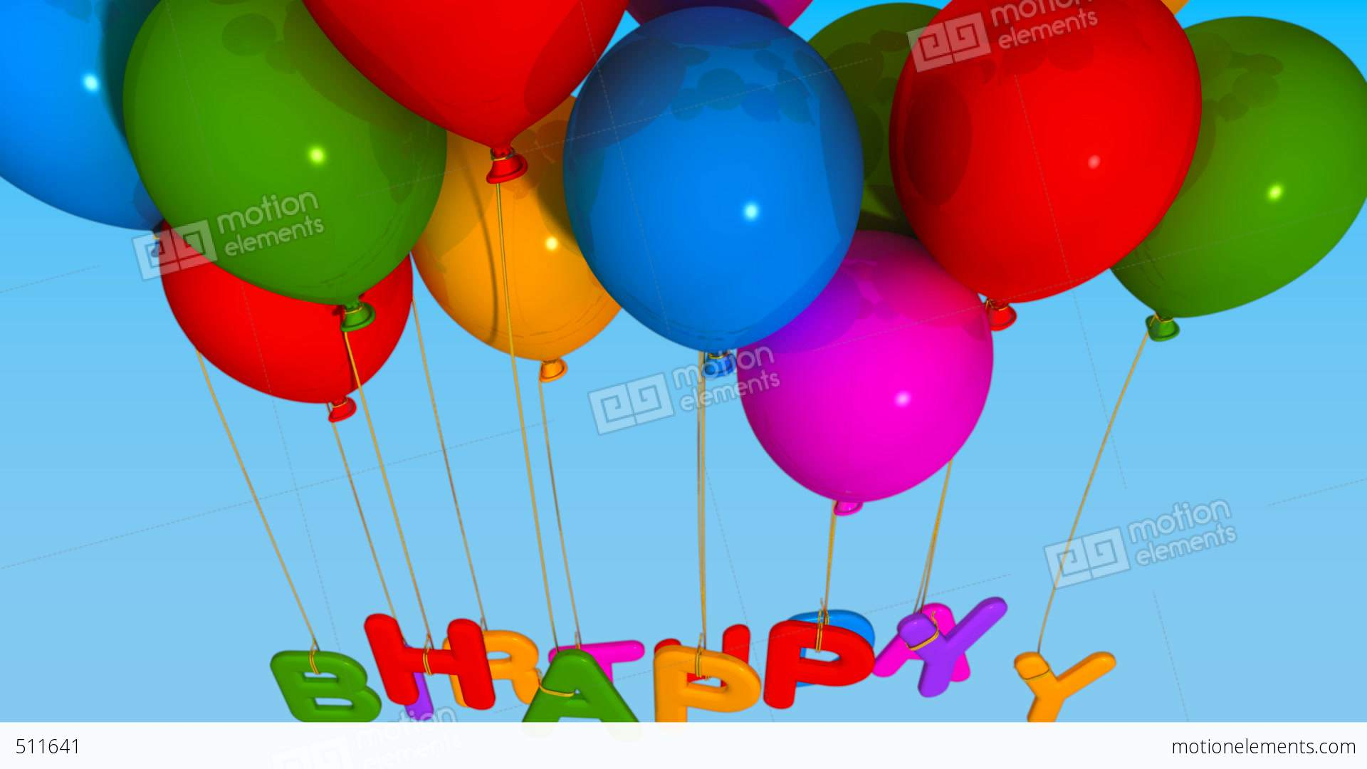 Balloon Happy Birthday Stock Animation