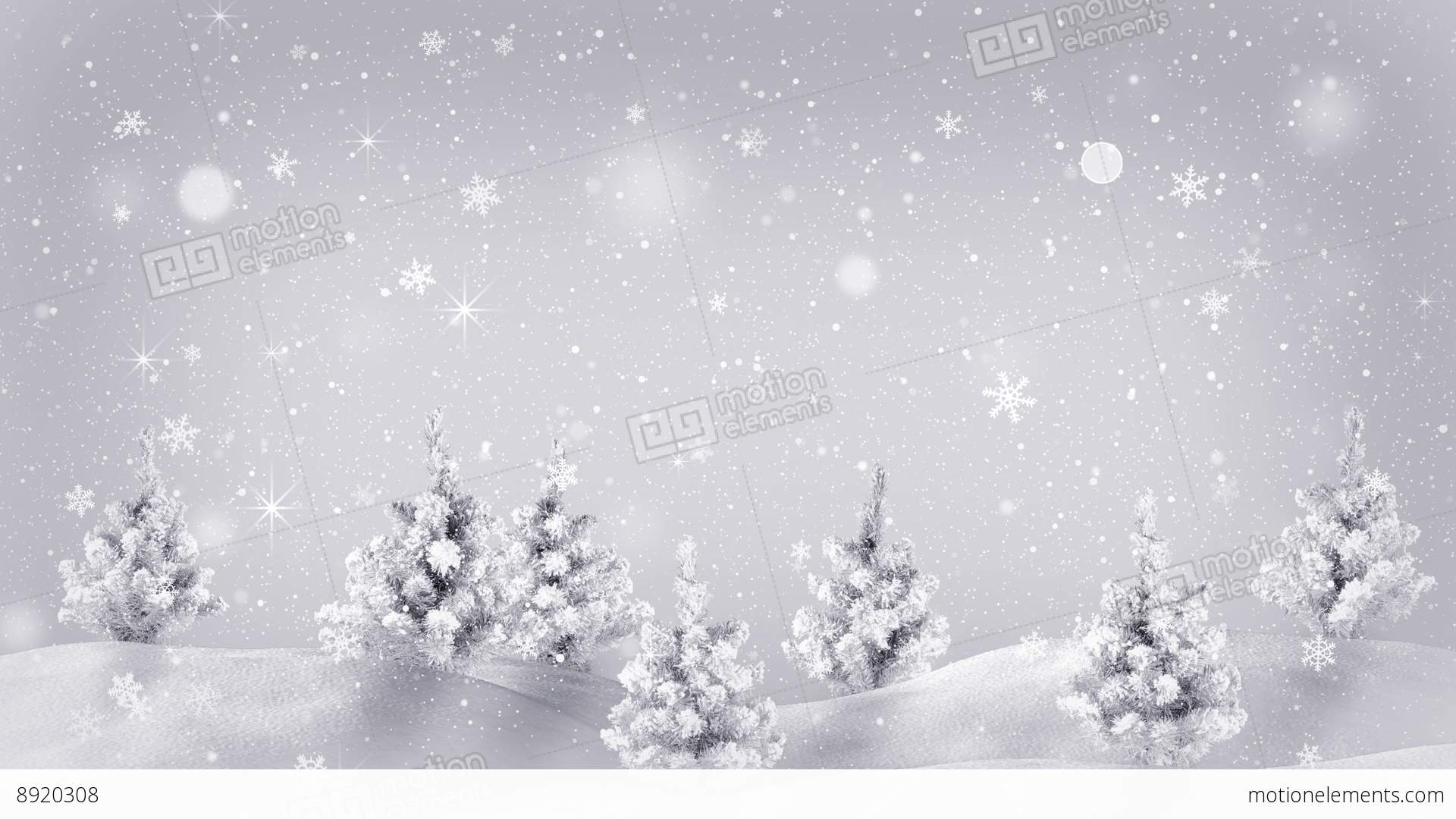 Snow Covered Trees Christmas Animation Loop 4k (4096x2304