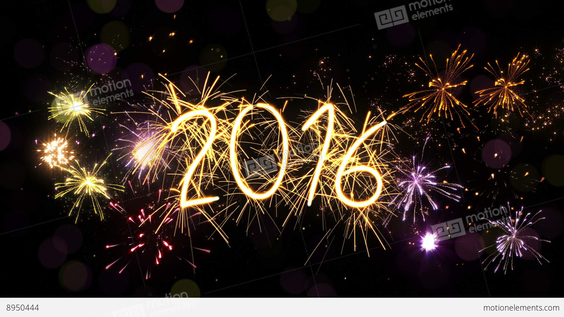 New Year 2016 Sparkler Sign And Firework Loop 4k (4096x2304) Stock ...