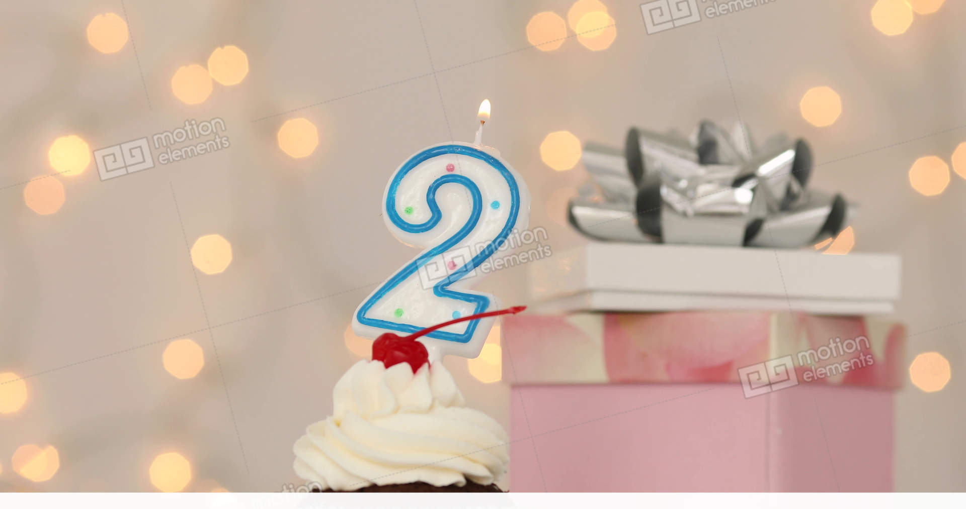 Number 2 Burning Candle On Top Of Birthday Cake Stock Video Footage