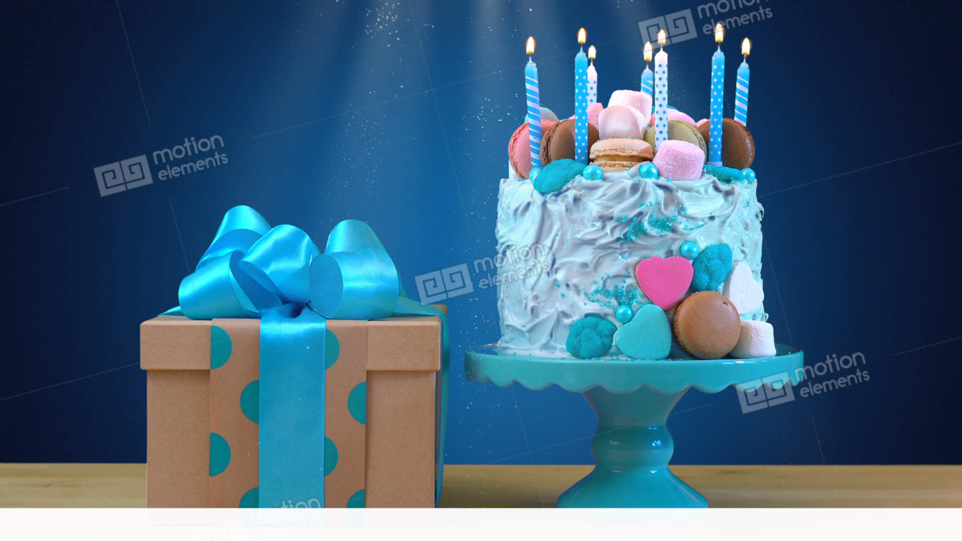 Blue Birthday Celebration Showstopper Cake Decorated With Candy