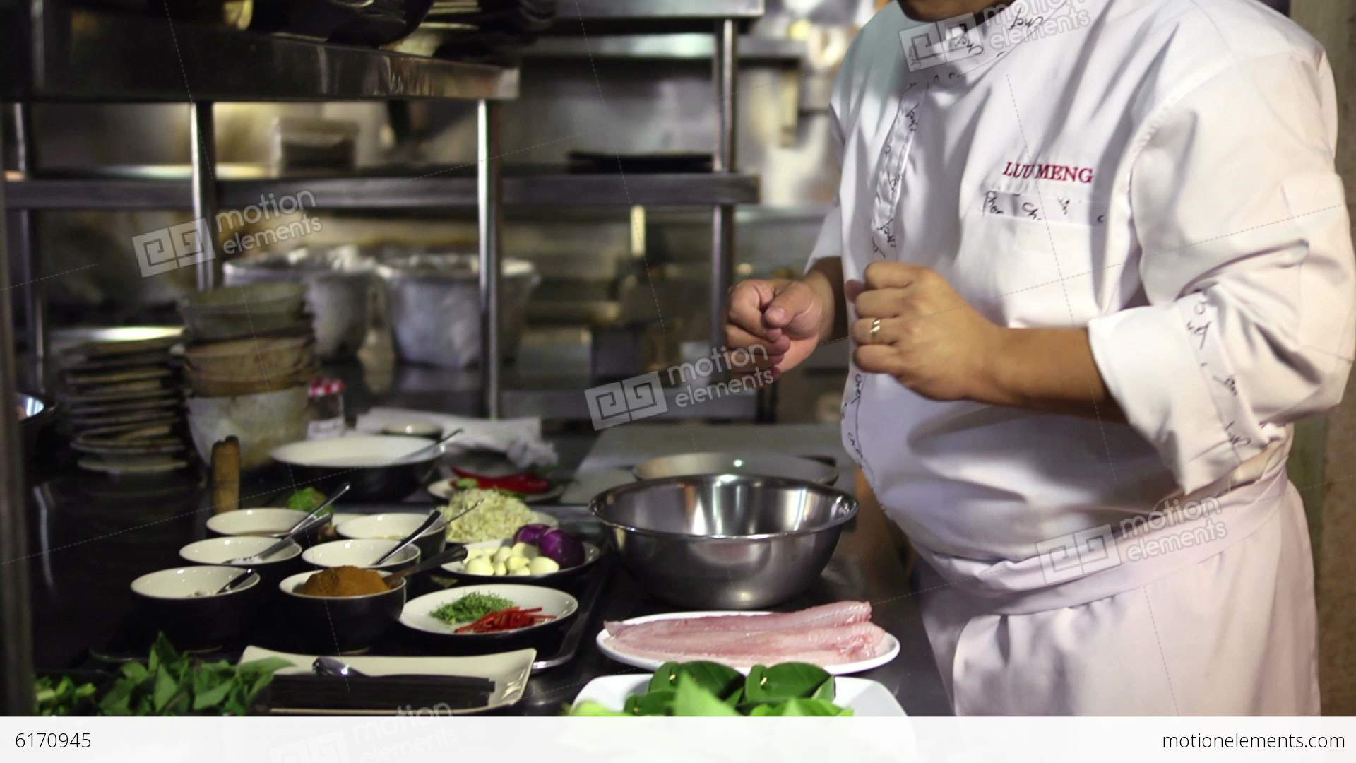Restaurant Kitchen Video professional asian chef working in restaurant kitchen stock video