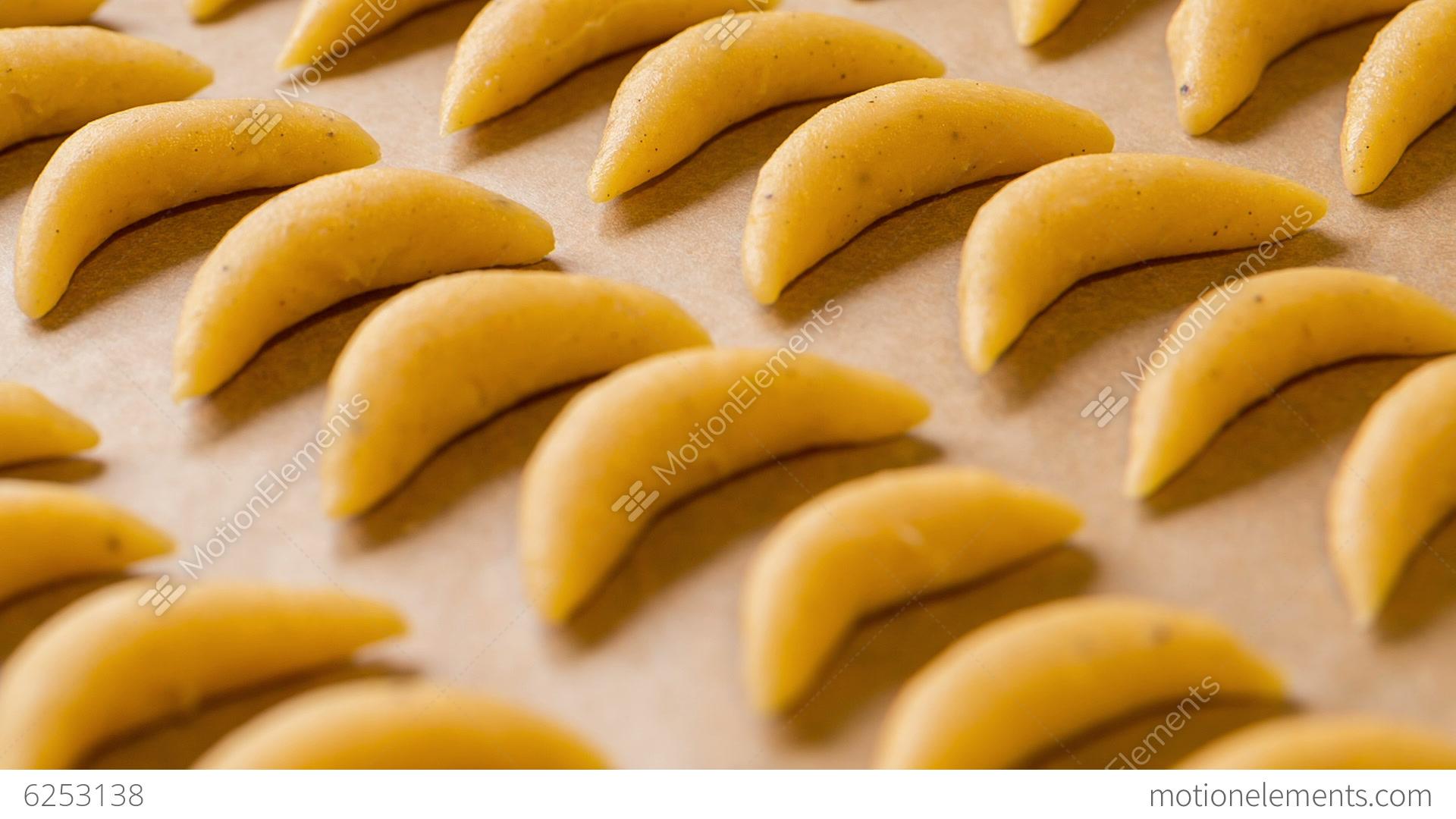 Rack Focus Shot Of Raw Nut Crescent Cookies Stock Video Footage ...