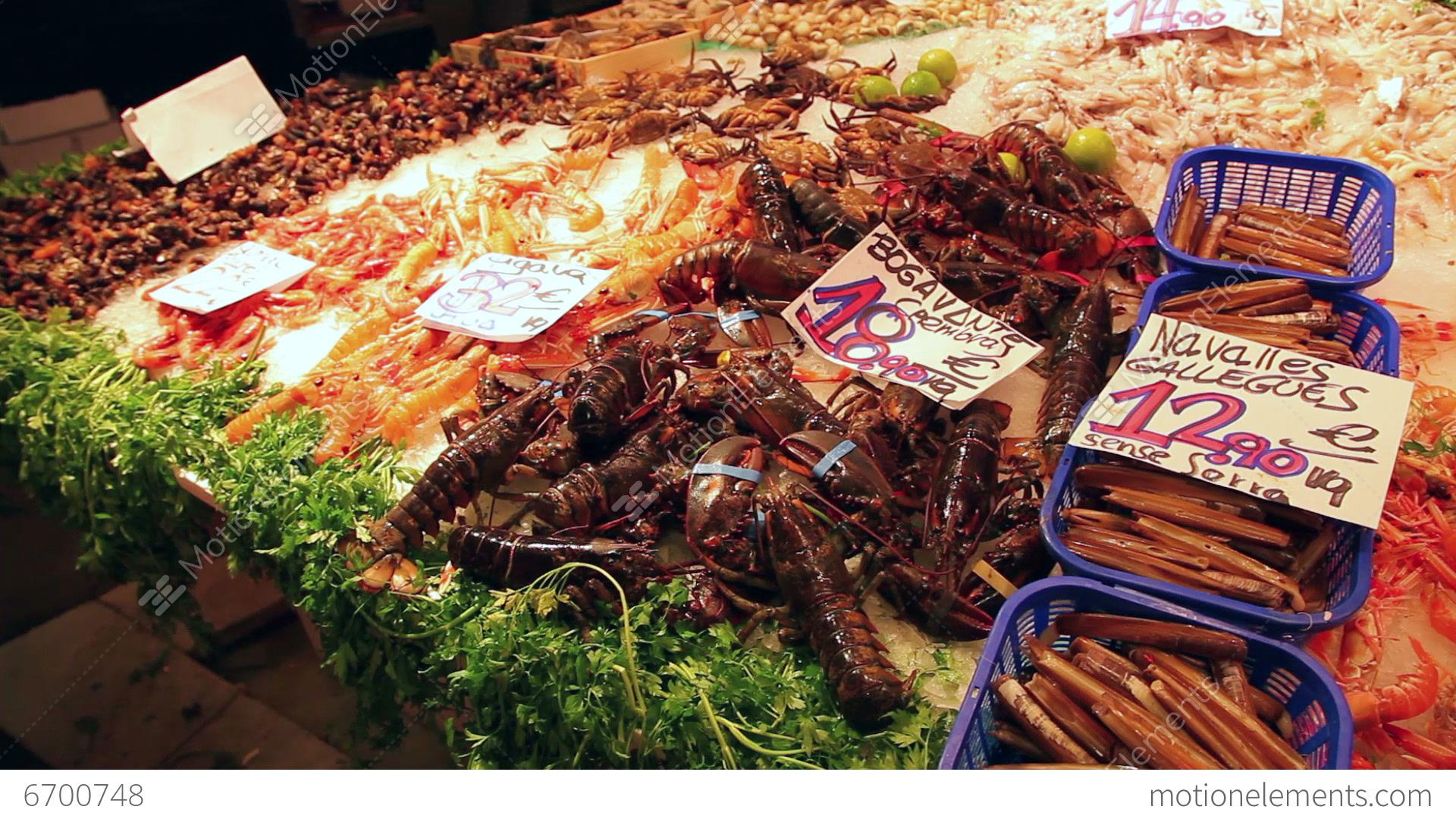 Seafood and fish market la boqueria barcelona stock video for La fish market
