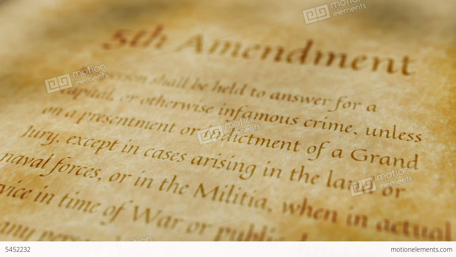 historic document 5th amendment stock animation 5452232