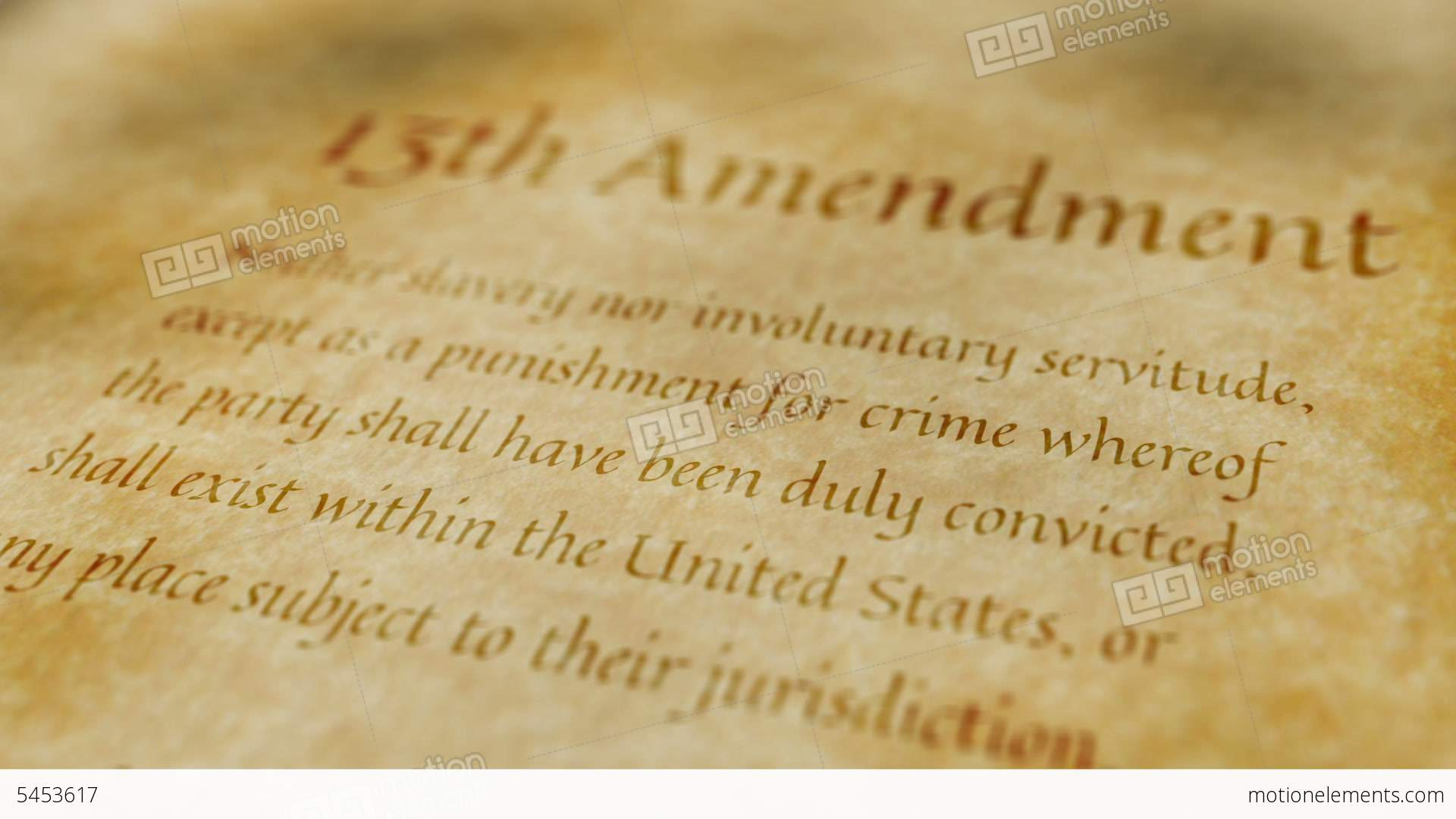 Historic Document 13th Amendment Stock Animation 5453617