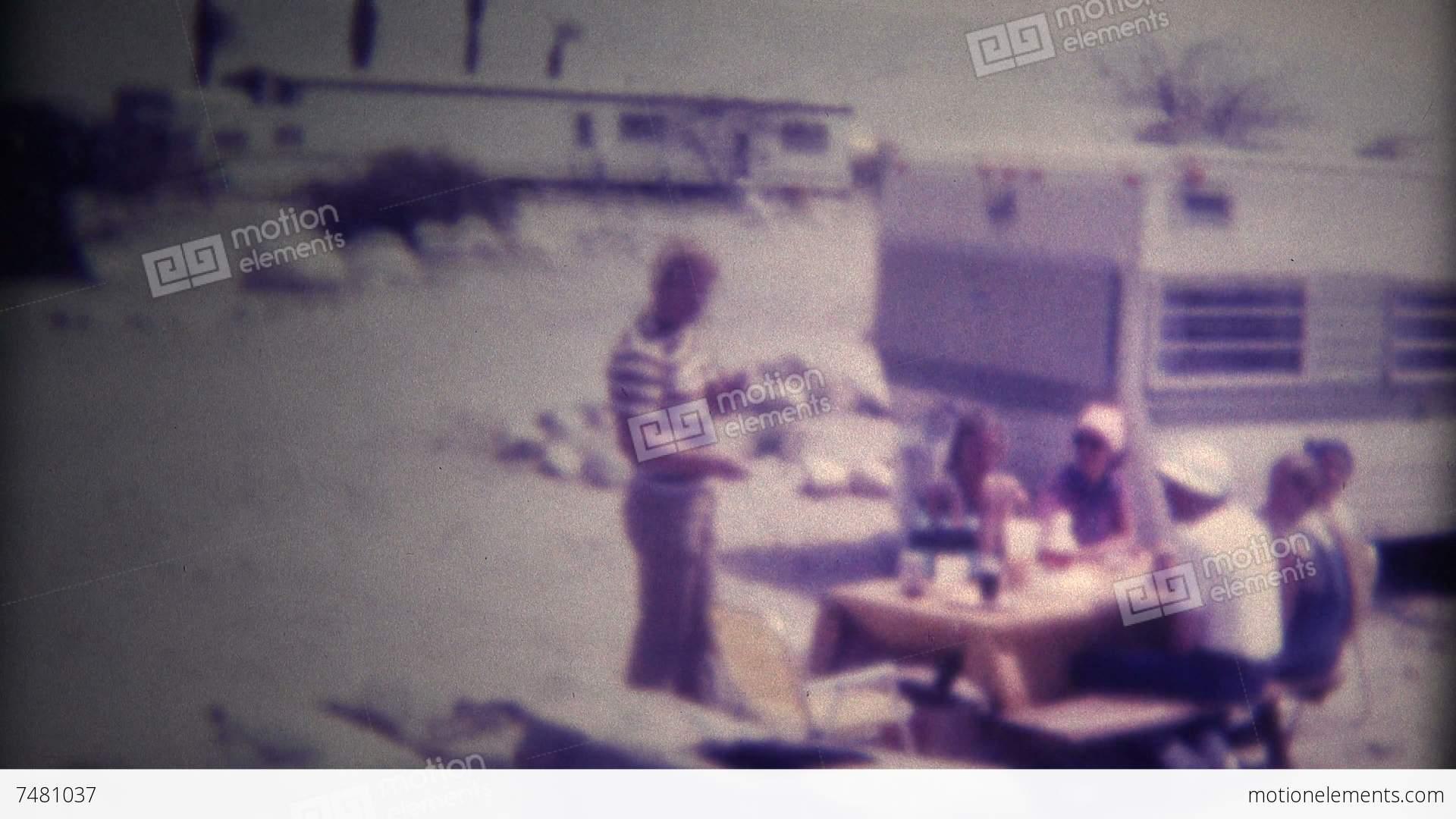 super 8 film desert trailer camping 1975 stock video. Black Bedroom Furniture Sets. Home Design Ideas