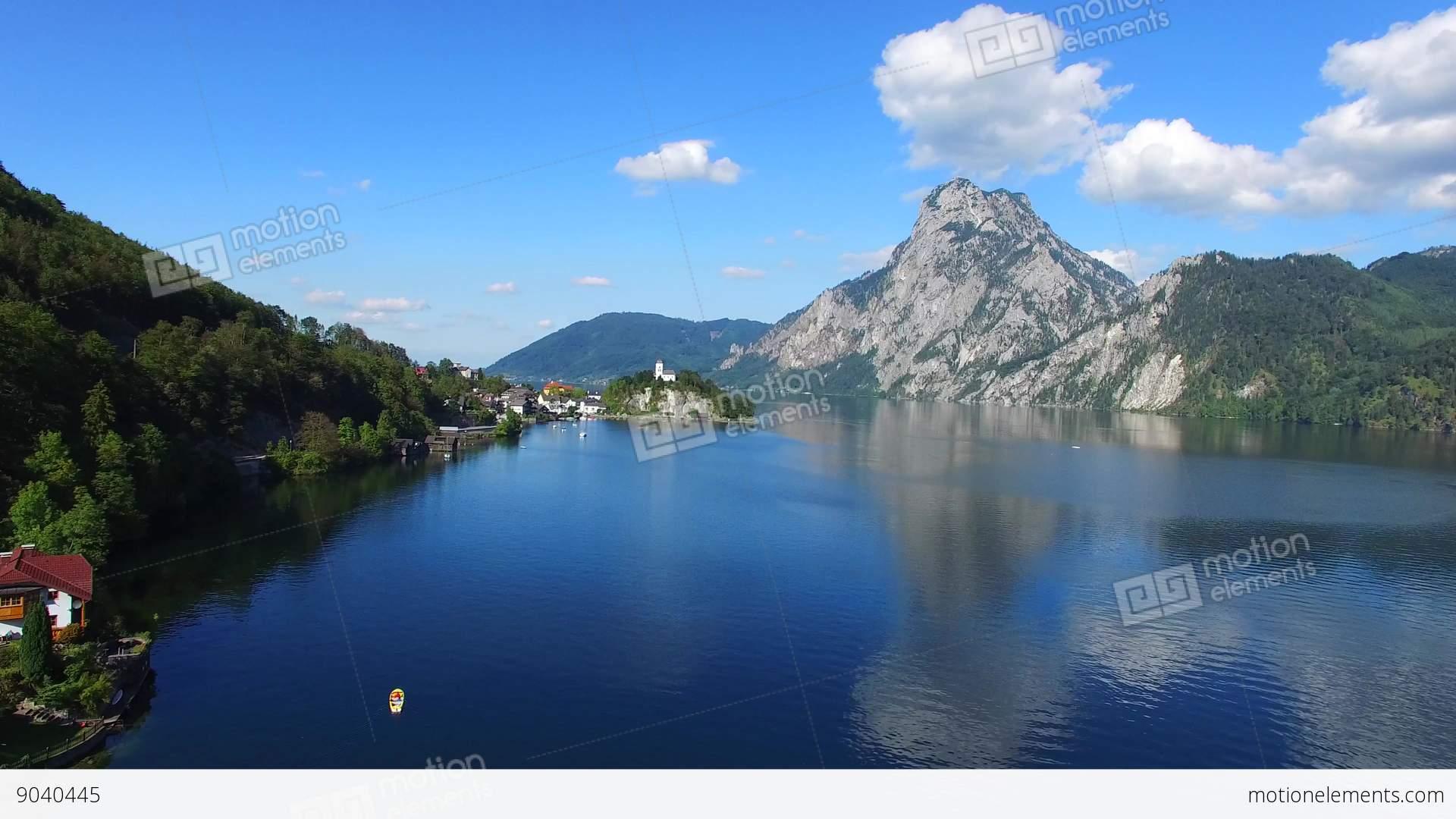 Traunsee Summer Lake Panorama Austria Stock Video