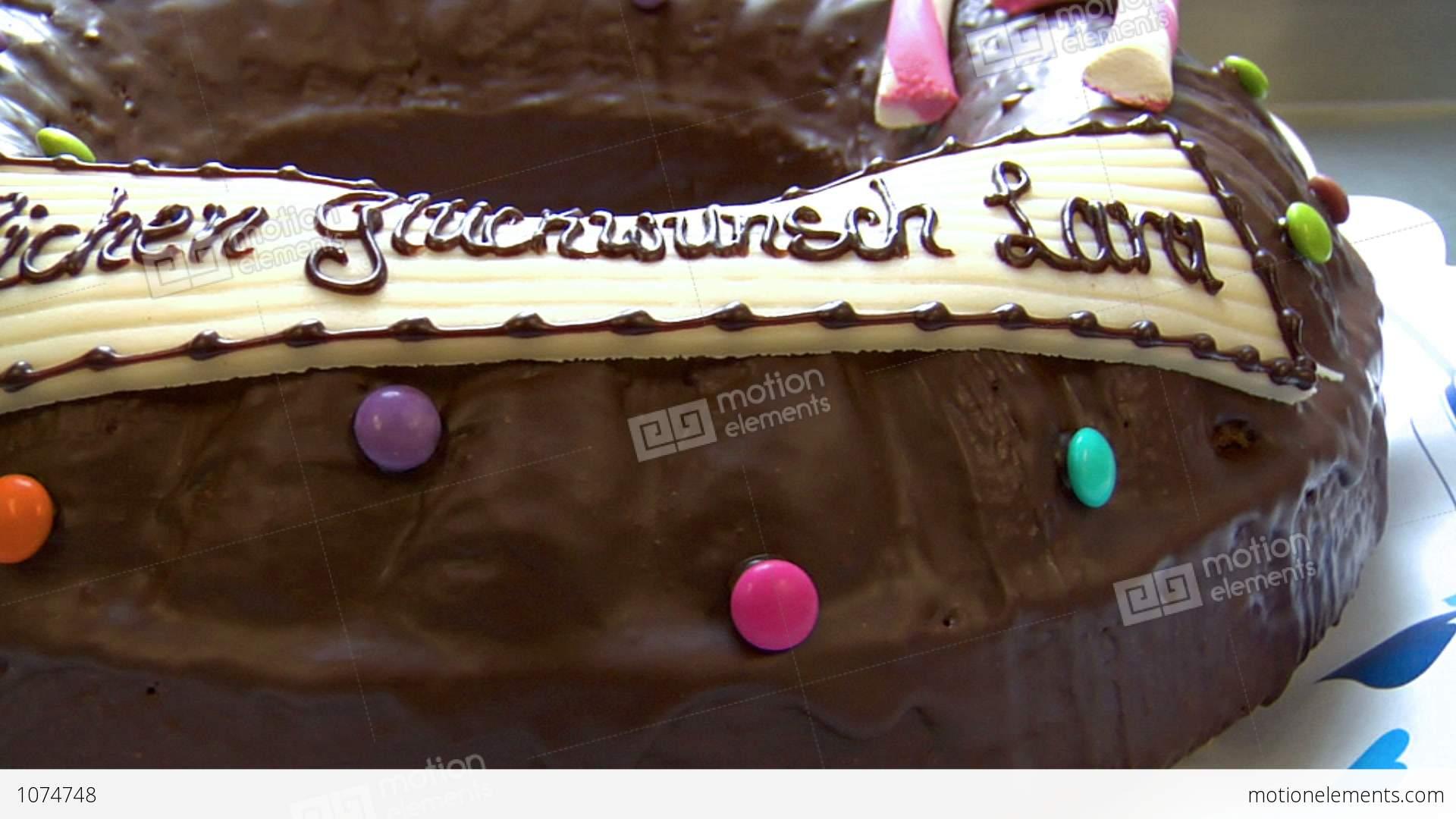 German Bakery Dolly Around Birthday Cake Close 10742 Stock Video