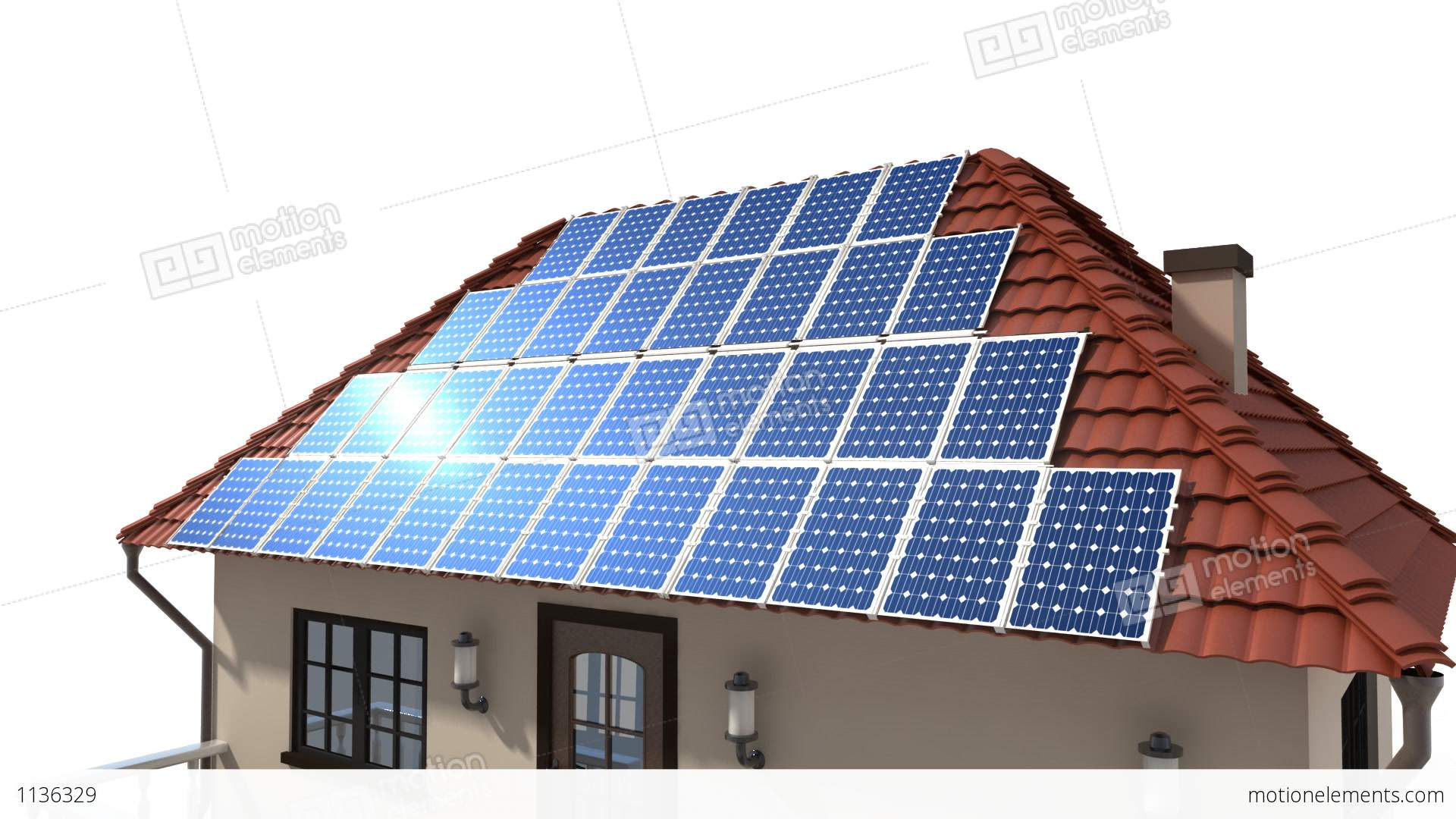 Mounting Solar Panels On The Roof Stock Animation 1136329