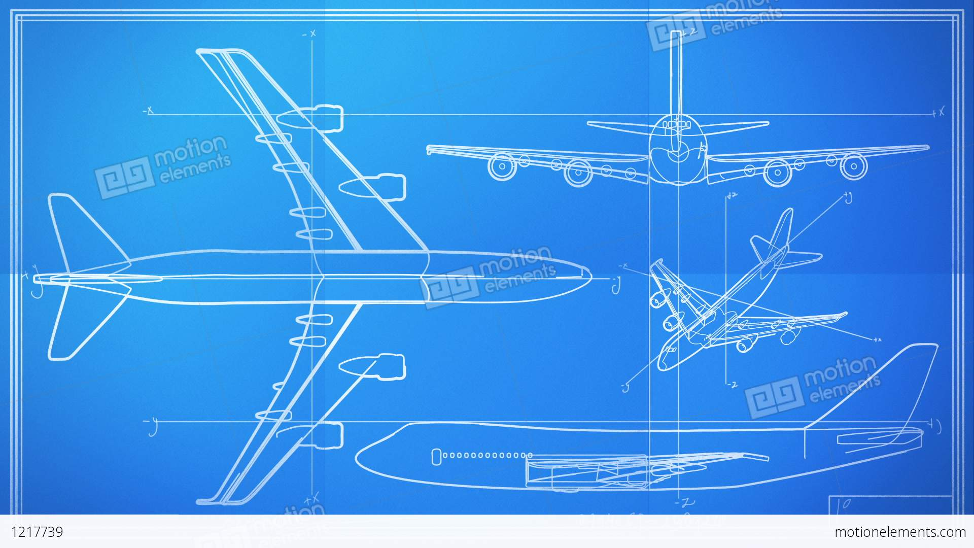 Aircraft technical drawing blueprint time lapse stock for Airplane plan